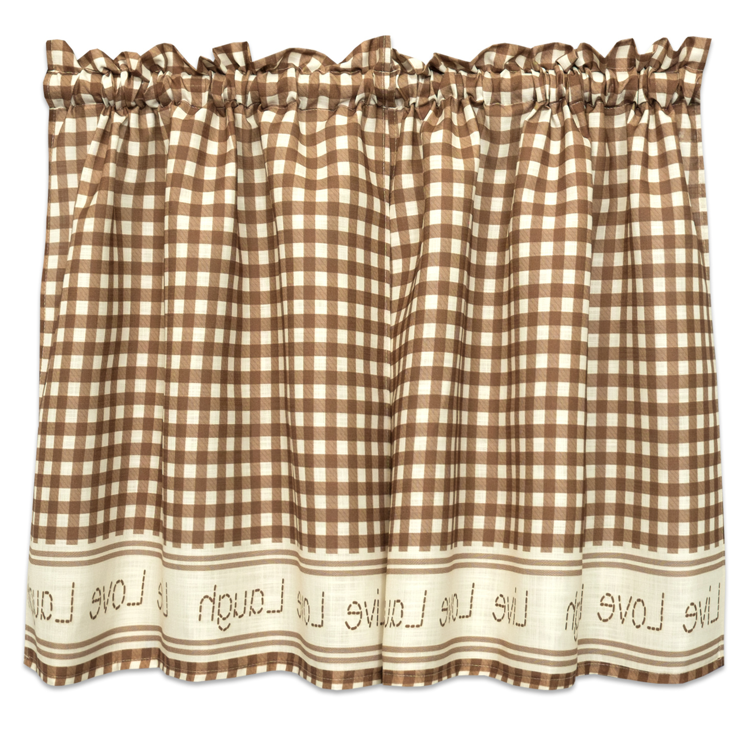 Gingham Stitch Live Laugh Love Kitchen Curtain Tier Pair Or Valance Toast Pertaining To Widely Used Live, Love, Laugh Window Curtain Tier Pair And Valance Sets (View 8 of 20)