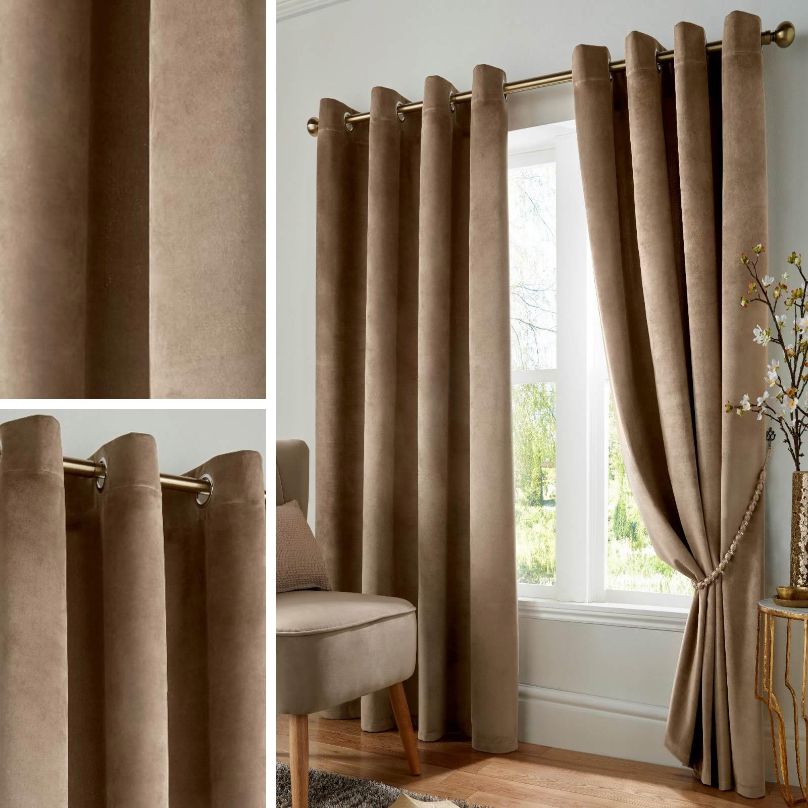 Glasgow Curtain Tier Sets Intended For Favorite Details About Beige Blackout Curtains Velvet Thermal Eyelet Ready Made Ring Top Curtain Pairs (View 17 of 20)