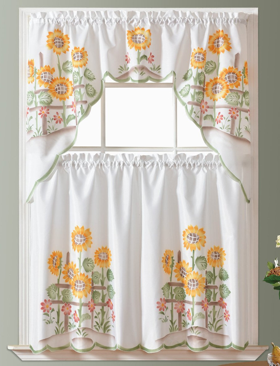 Gohd – 3Pcs Kitchen Curtain/cafe Curtain/swag & Tiers Set, Air Brushed Hand Of Sunflower Design Inside Most Popular Sunflower Cottage Kitchen Curtain Tier And Valance Sets (View 10 of 20)