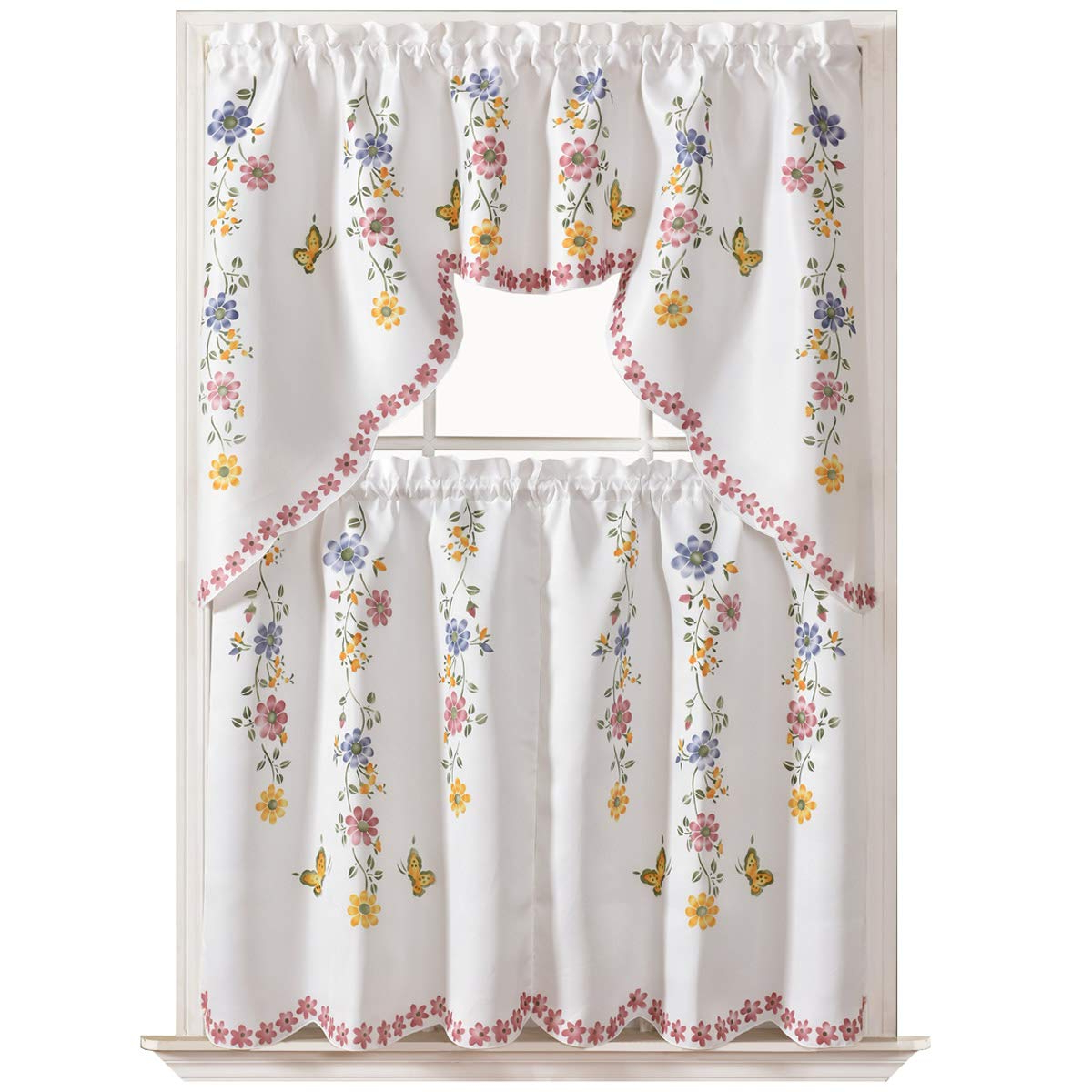 Gohd Golden Ocean Home Decor Daisy Swing 3Pcs Kitchen Cafe Curtain Set Air  Brushedhand Of Daisy And Butterfly Design On Thick Satin Fabric With Popular Spring Daisy Tiered Curtain 3 Piece Sets (View 5 of 20)