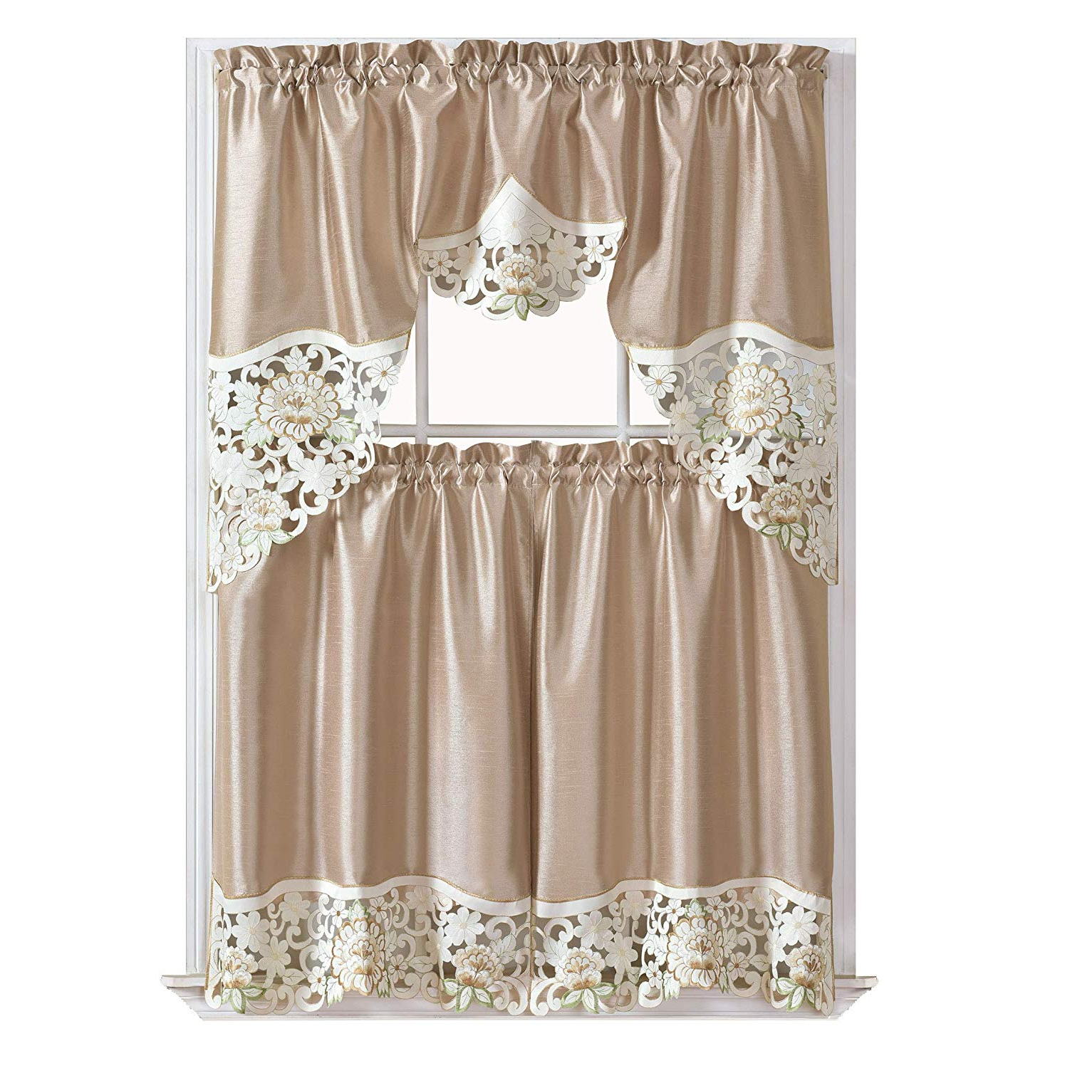 Gohd Golden Ocean Home Decor Summer Passion Kitchen Cafe Curtain Set Swag Valance And Tier Set (View 7 of 20)