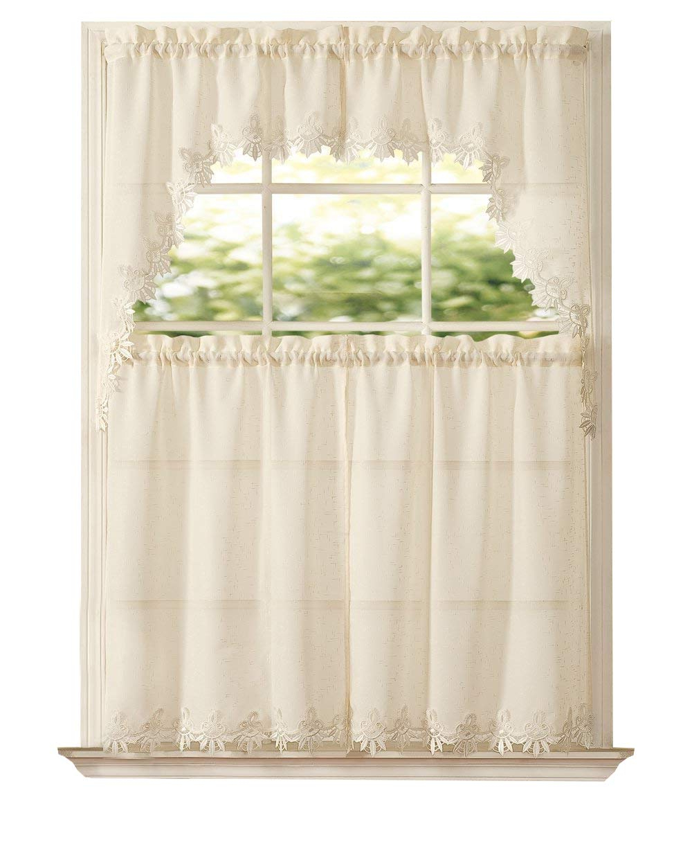 Goodgram Orchard Luxurious Matte Sheer & Macrame Kitchen Curtain Tier & Swag Set Assorted Colors (beige) Regarding Most Up To Date Embroidered 'coffee Cup' 5 Piece Kitchen Curtain Sets (View 9 of 20)
