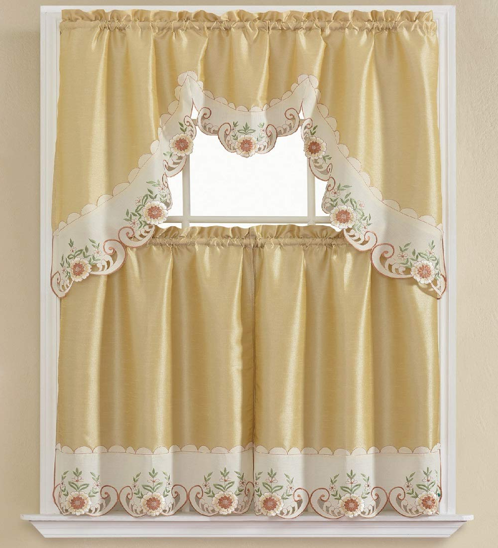Grace Cinnabar 5 Piece Curtain Tier And Swag Sets With Regard To Recent B&h Home Tulip Floral Embroidered 3 Piece Kitchen Curtain Window Treatment Set (tulip Rose) (View 11 of 20)