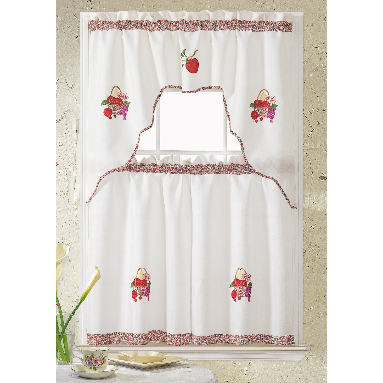 Grand Coffee Embroidered Tier And Swag Kitchen Curtain Set Within Widely Used Coffee Embroidered Kitchen Curtain Tier Sets (View 19 of 20)