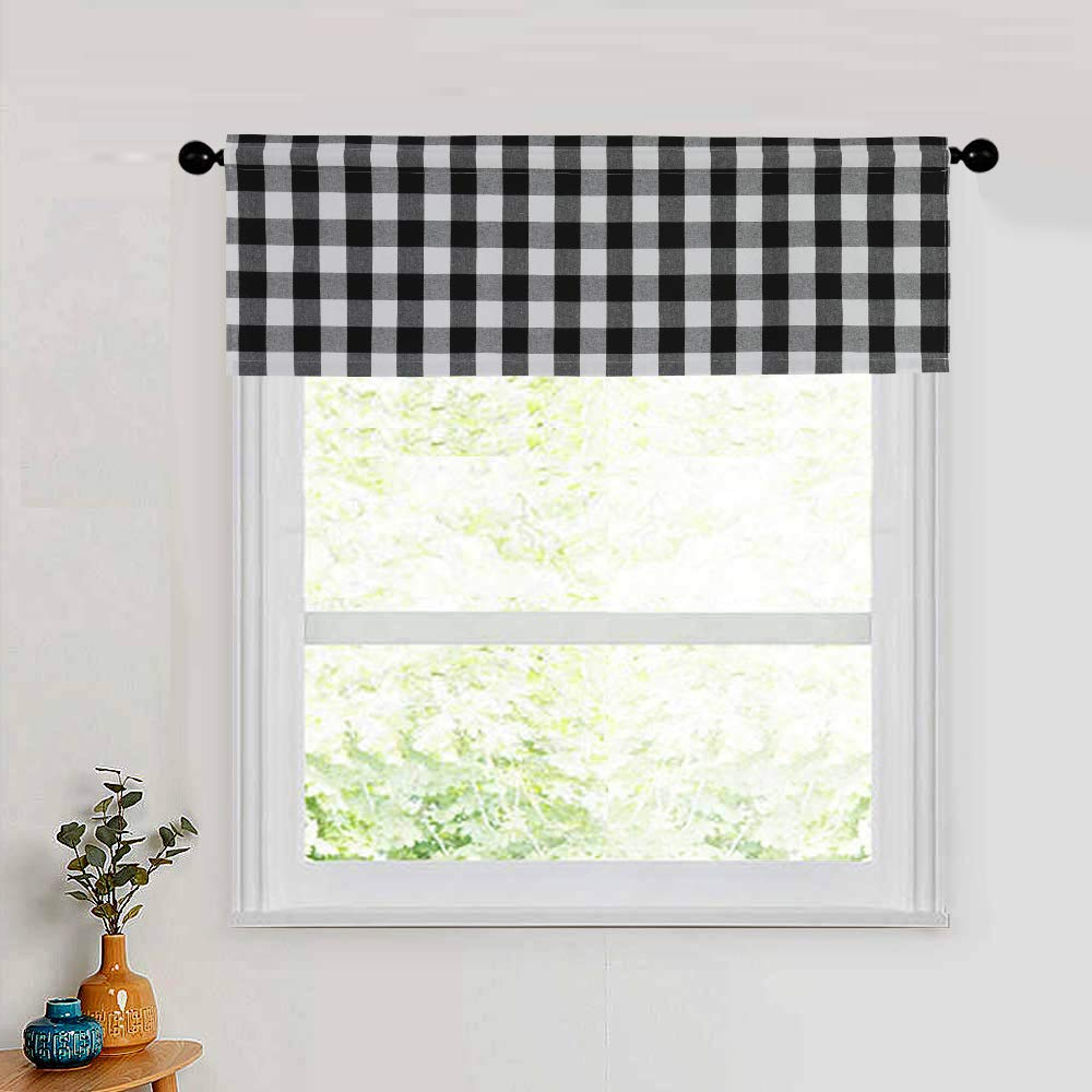 "Grandin Curtain Valances In Black Within Latest Natus Weaver 1 Pc Cotton Classic Country Farmhouse Kitchen Window Curtains Black & White Buffalo Check Valance, 54"" X 18"" (View 13 of 20)"