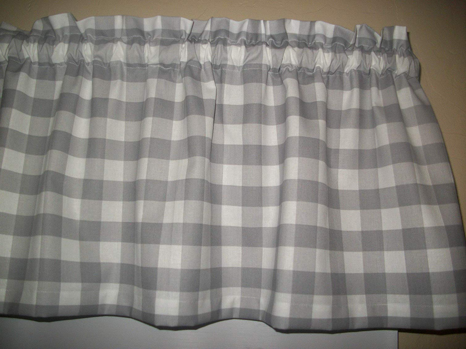 Gray Grey White Buffalo Plaid Checked Checks Farmhouse Country Farm Kitchen Fabric Decor Window Treatment Curtain Topper Valance With Well Known Barnyard Buffalo Check Rooster Window Valances (View 14 of 20)