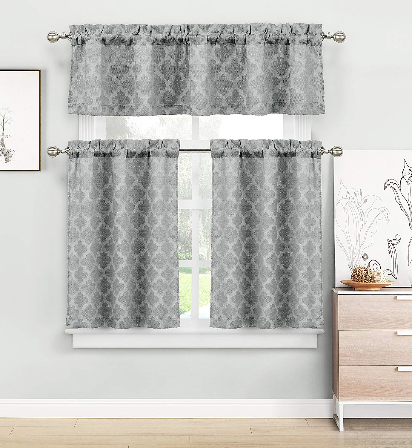 Grey Window Curtain Tier And Valance Sets In Most Popular Home Maison – Longoria Geometric Linen Textured Kitchen Tier & Valance Set (View 8 of 20)