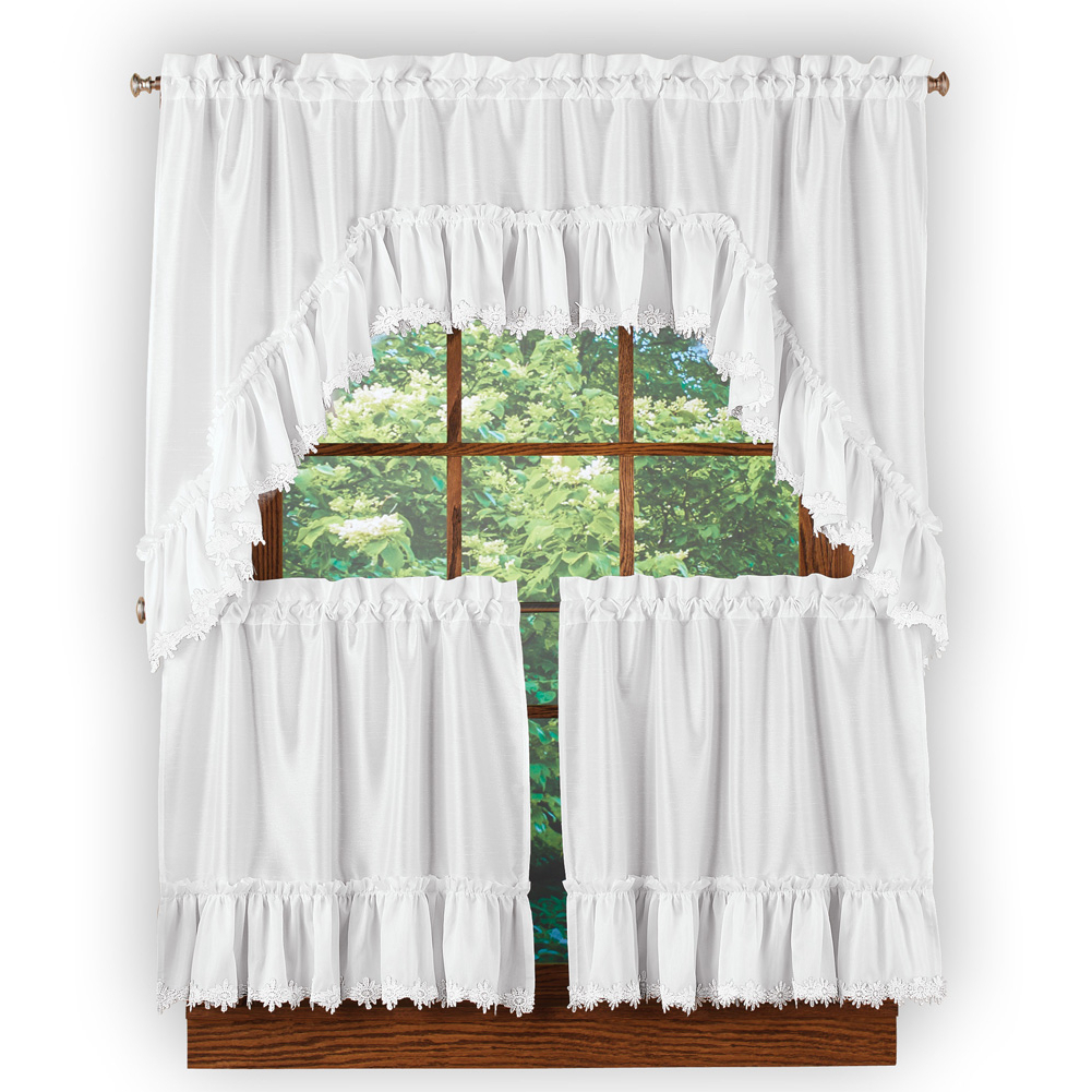 Grey Window Curtain Tier And Valance Sets In Recent Ruffled Lace Trim Window Curtain Tier And Valance Set With Rod Pocket Top For Easy Hanging – Home Decor For Any Room (View 13 of 20)