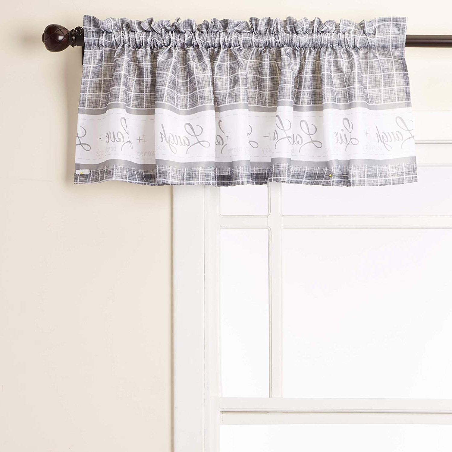 """Grey Window Curtain Tier And Valance Sets Regarding Widely Used Achim Home Furnishings Achim Home Imports Live, Love, Laugh Window Curtain Tier Pair And Valance Set, Pair & Valance 58"""" X 36"""", Grey (View 14 of 20)"""