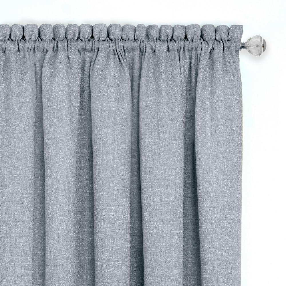 Grey Window Curtain Tier And Valance Sets With Regard To Famous Achim Darcy Grey/white Polyester Tier And Valance Curtain Set 58 In. W X 24 In (View 18 of 20)