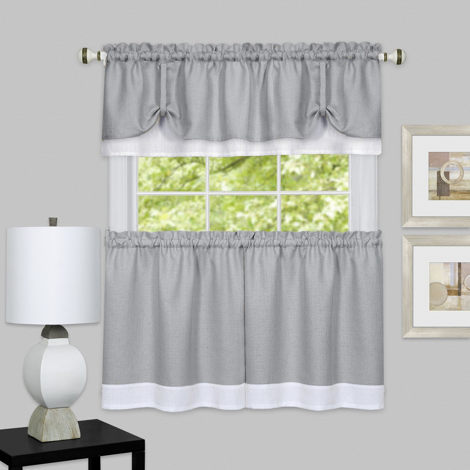 Featured Photo of Grey Window Curtain Tier And Valance Sets