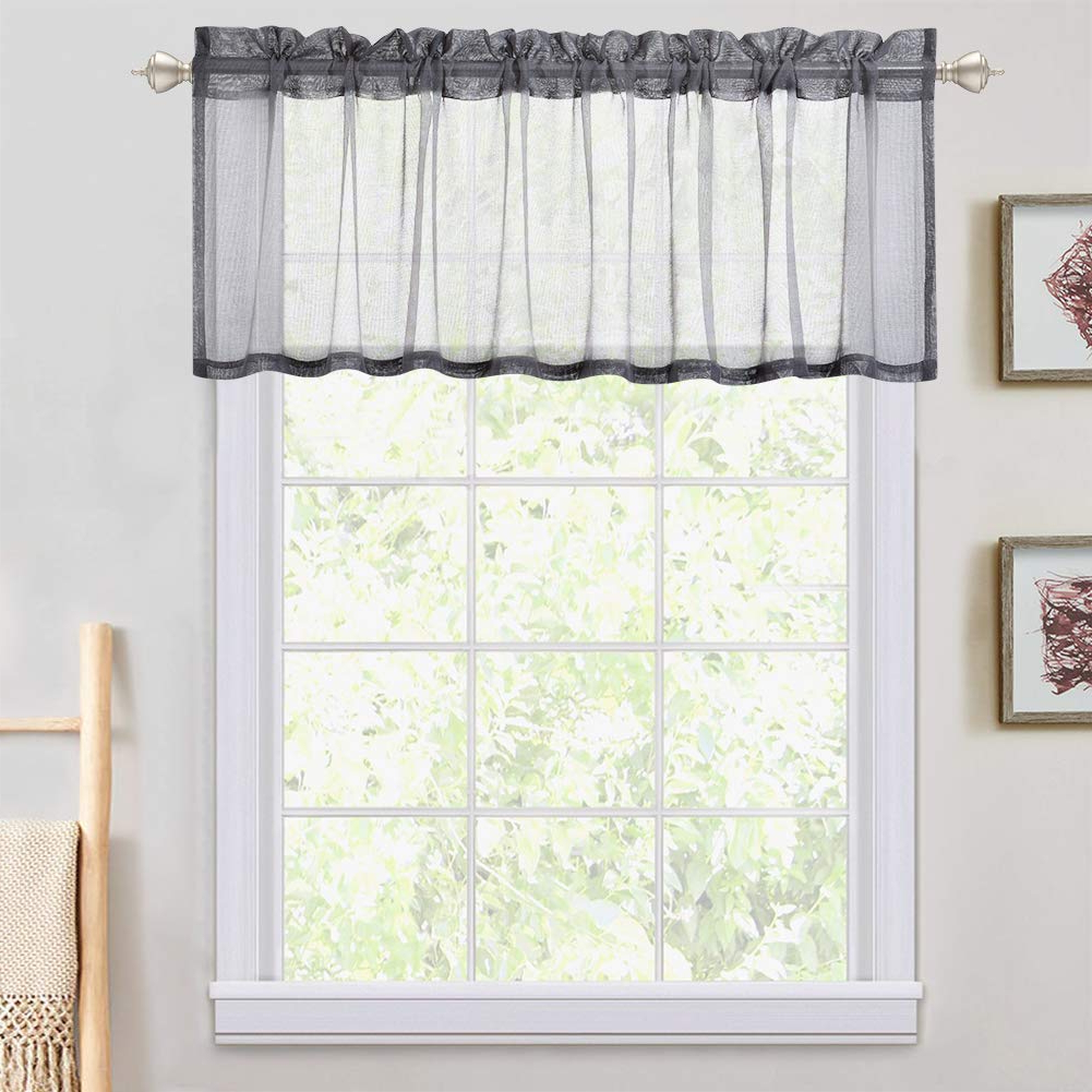 "Haperlare Sheer Valances Curtain – Translucent Grey Small Window Valances  Semitransparent Voile Sheer Panels For Bathroom/kitchen/cafe – 54"" W X 15"" With 2020 Luxury Light Filtering Straight Curtain Valances (Gallery 4 of 20)"