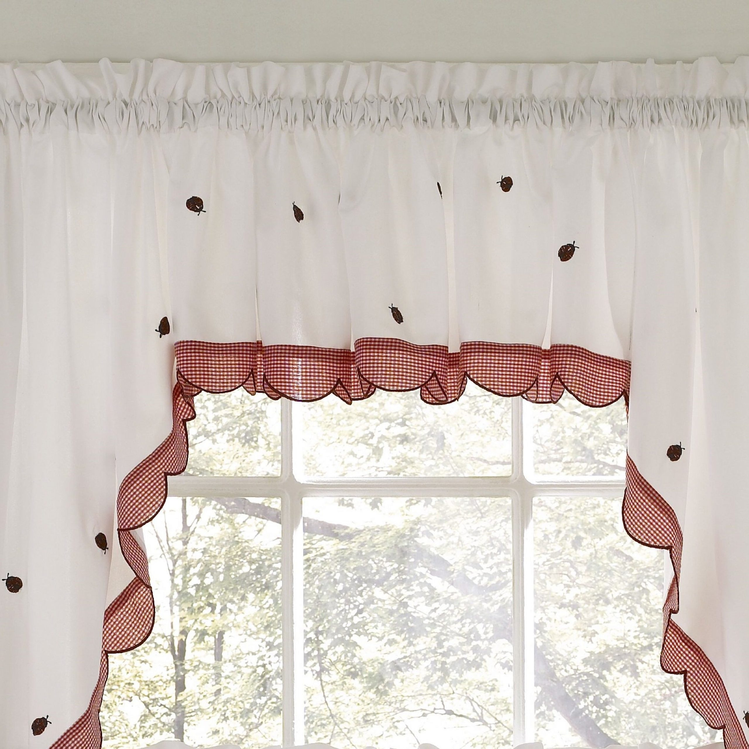 """Higham Traditional Elegance 56"""" Window Valance Cafe Curtain With Recent Embroidered Ladybugs Window Curtain Pieces (View 11 of 20)"""