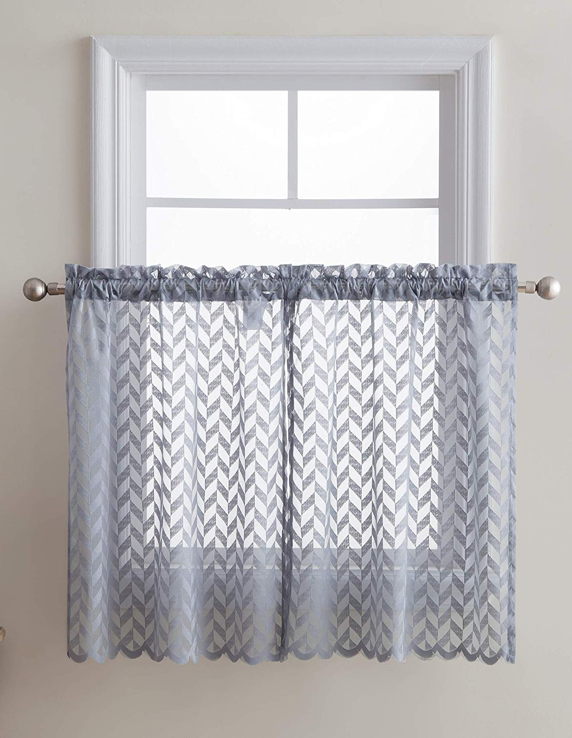 "Hlc Herringbone Semi Sheer Voile Kitchen Cafe Curtain Panels – Rod  Pocket – Tiers, Swags & Valances For Small Windows & Bathroom – 30"" Wide X  24"" For Fashionable Floral Lace Rod Pocket Kitchen Curtain Valance And Tiers Sets (Gallery 14 of 20)"