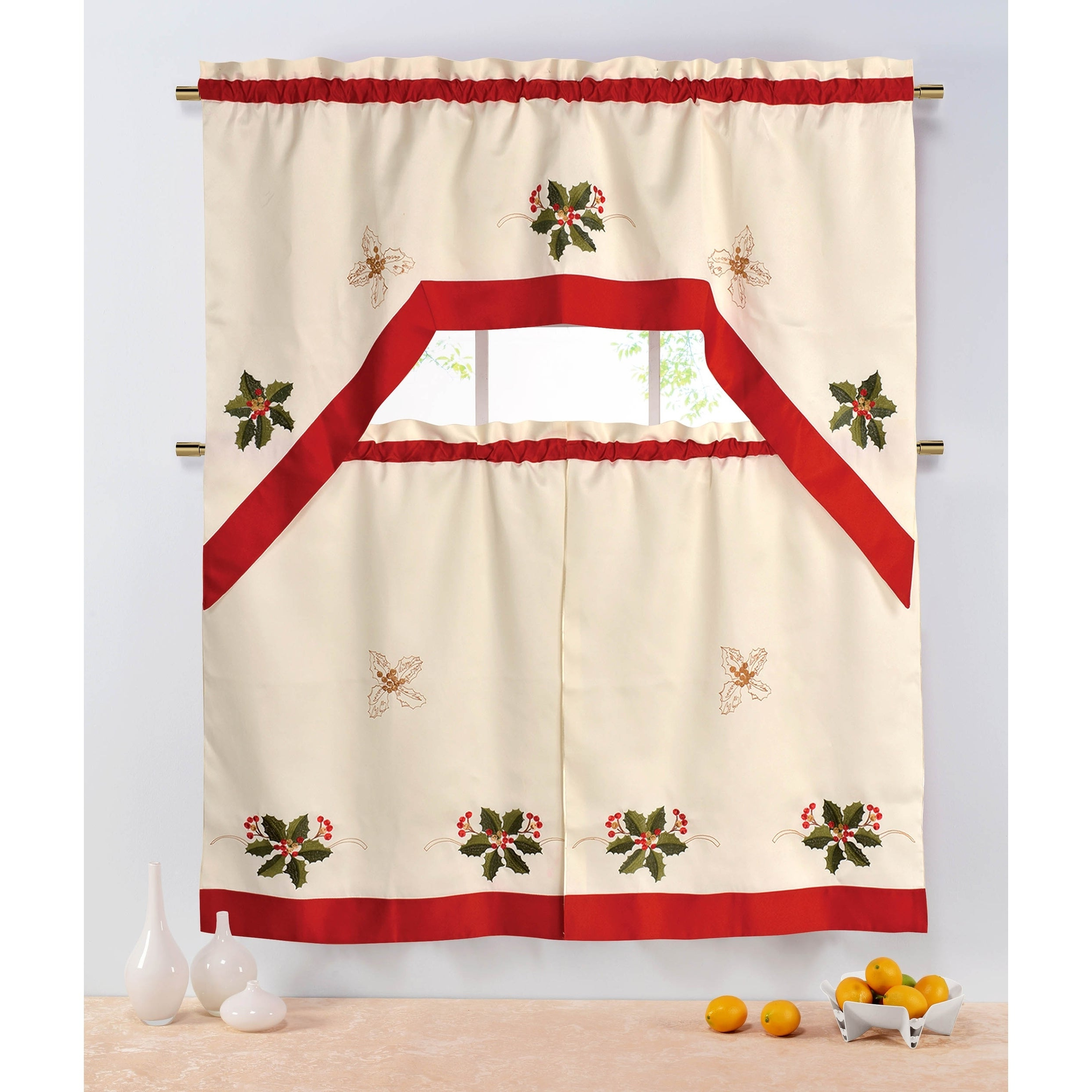 Holiday Holly Berries Embroidered Sheer 3 Piece Kitchen Tier Set – 60 X 72 Pertaining To Most Current Embroidered Ladybugs Window Curtain Pieces (Gallery 6 of 20)