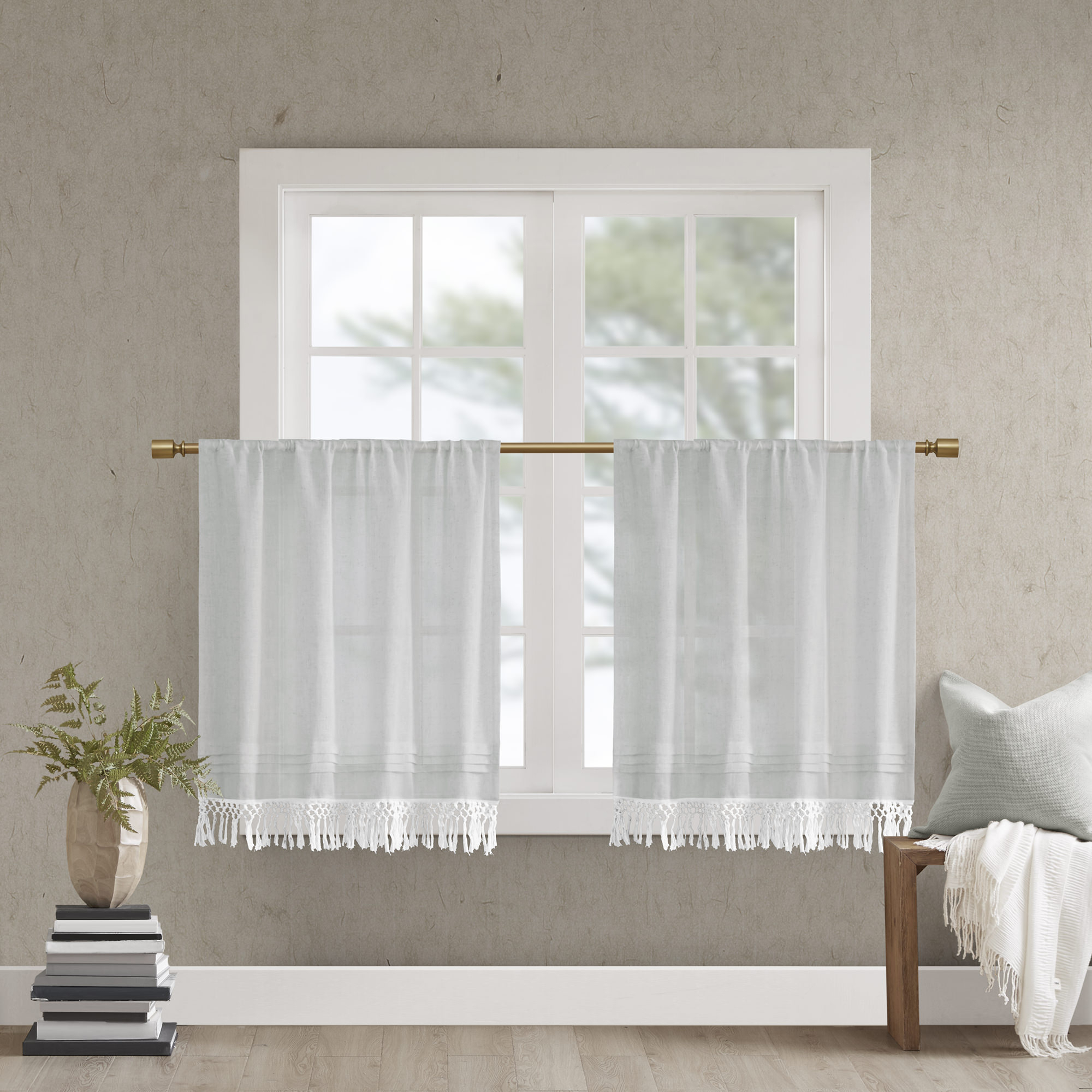 Home Essence Maisy Faux Linen Rod Pocket Kitchen Tier With Tassel Trim For Most Recently Released Rod Pocket Kitchen Tiers (Gallery 16 of 20)
