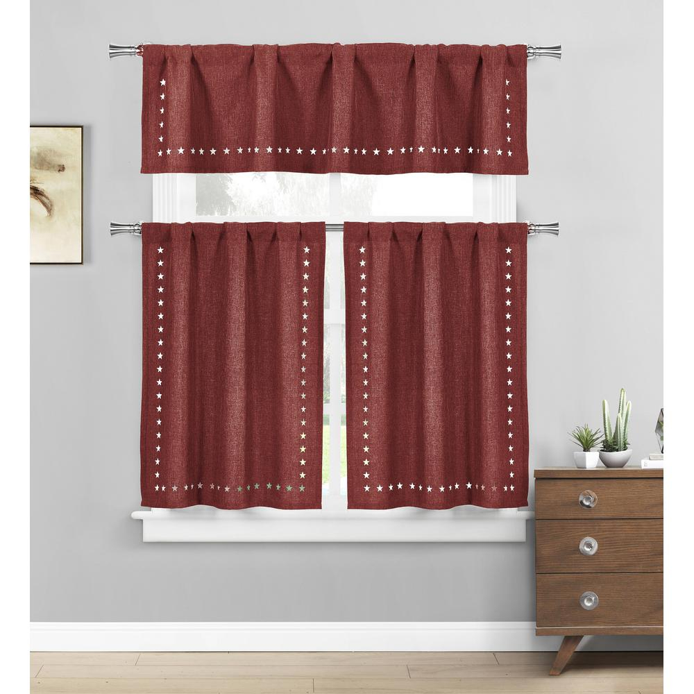 Home Maison Conor Stars Burgundy Kitchen Curtain Set – 58 In. W X 15 In. L  In (3 Piece) Within Well Known Kitchen Burgundy/white Curtain Sets (Gallery 10 of 20)