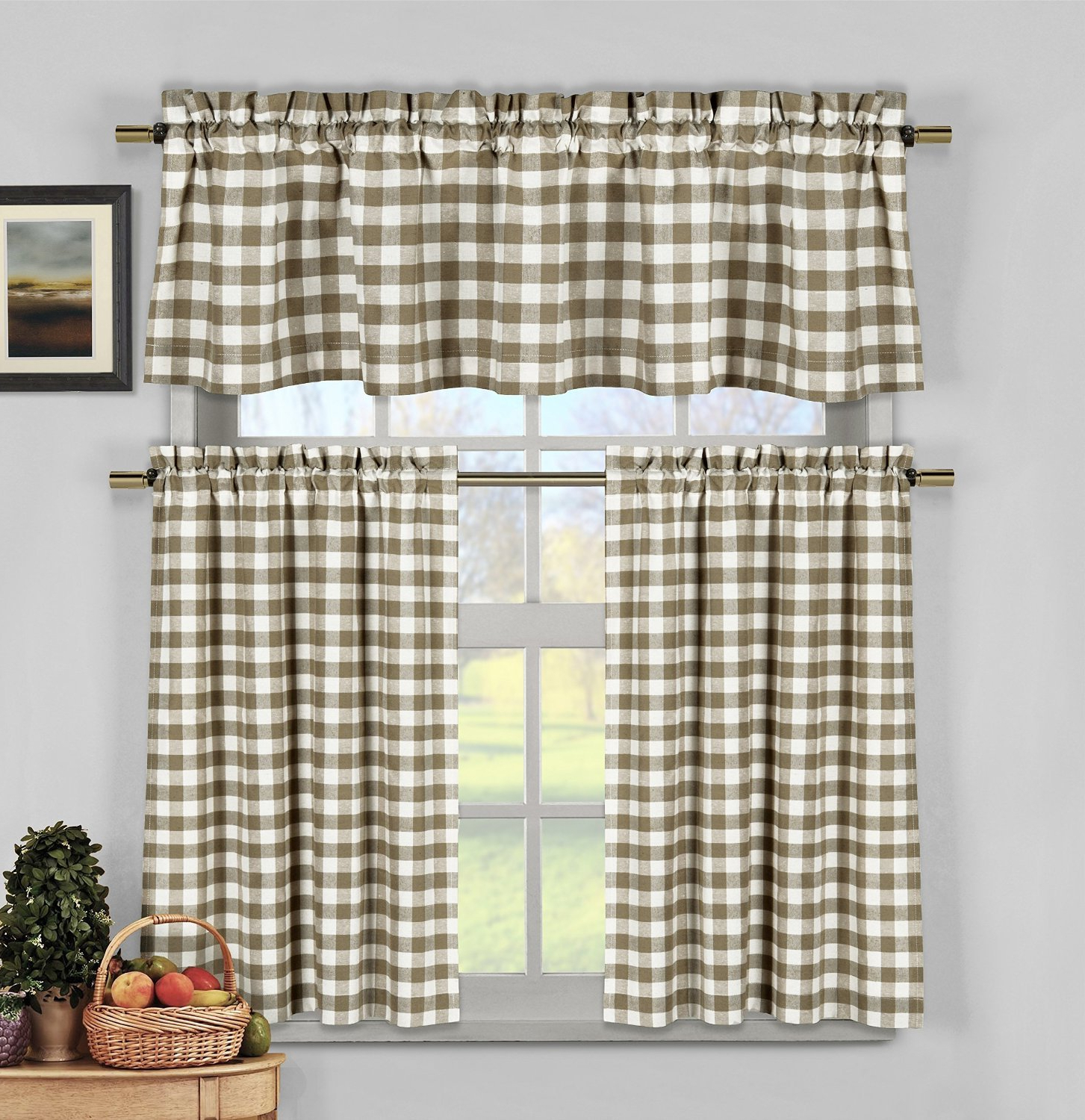 Home Maison Kingston Plaid Gingham Checkered Cotton Blend Kitchen 3 Piece  Window Curtain Tier & Valance Set, 2 Tiers 29 X 36 & One Valance 58 X 15, In Widely Used Classic Navy Cotton Blend Buffalo Check Kitchen Curtain Sets (Gallery 3 of 20)
