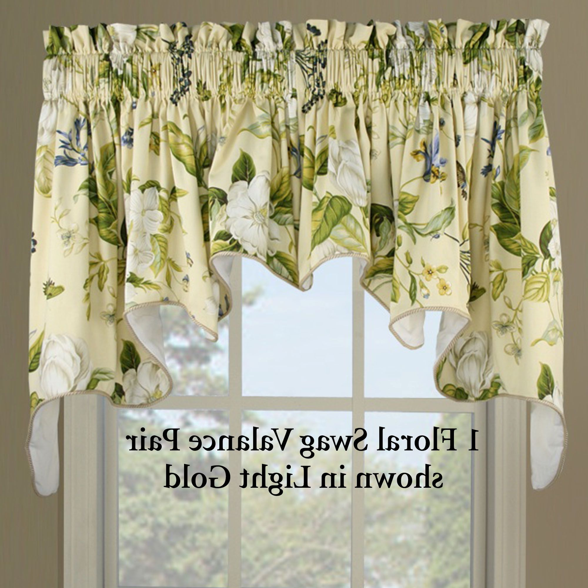 Home Southern Magnolia Swag Valance With Regard To Waverly Kensington Bloom Window Tier Pairs (View 14 of 20)
