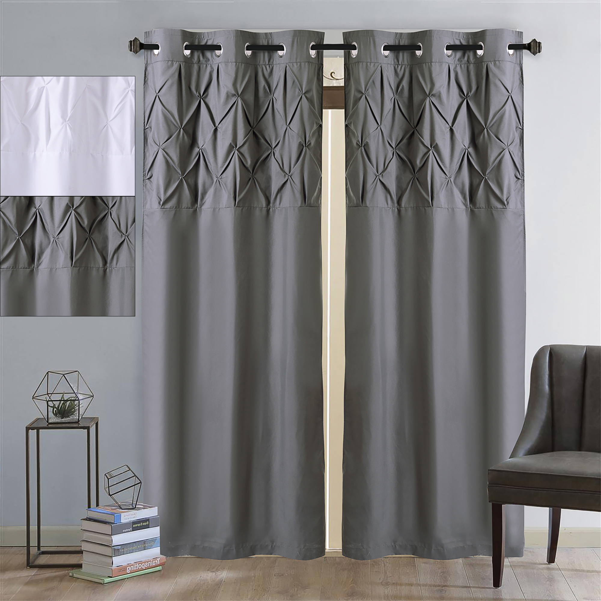 "Hudson Pintuck Window Curtain Valances Pertaining To Most Up To Date Details About Hudson Pintuck Window Curtain Panel Pair 84""x38"" (View 4 of 20)"