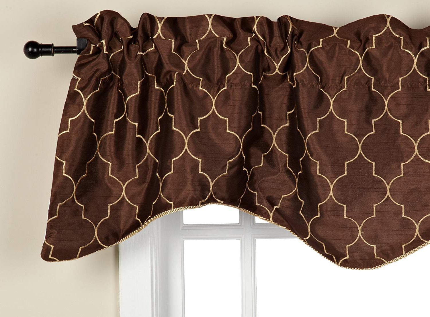 "Hudson Pintuck Window Curtain Valances With Regard To Current Stylemaster Hudson Valance, 50"" X 17"", Espresso (View 7 of 20)"