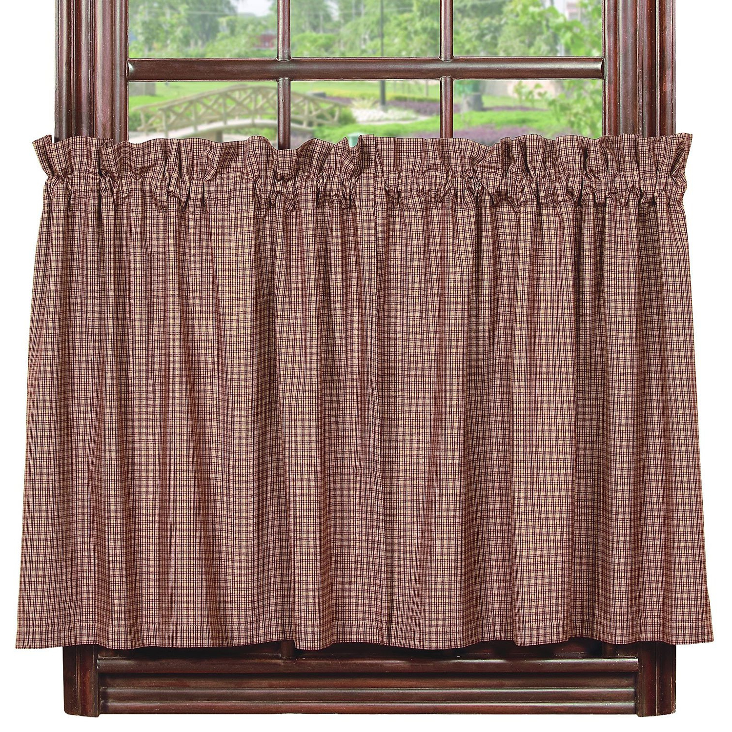 "[%ihf Pattern Vintage Star Wine 24"" Tier 100% Pure Cotton Fabric Window Curtains Tiers 72 X 24 Inches Within Most Up To Date Traditional Tailored Tier And Swag Window Curtains Sets With Ornate Flower Garden Print