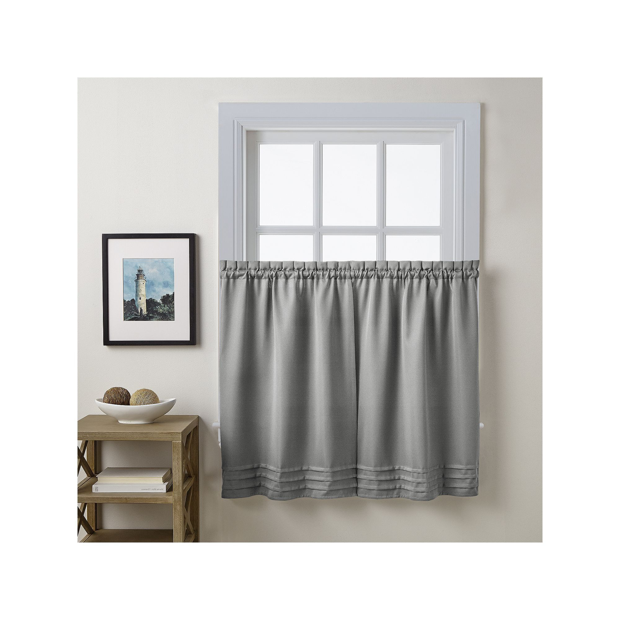 Imperial Flower Jacquard Tier And Valance Kitchen Curtain Sets Inside Famous Addison Twill Solid Tier Pair (View 11 of 20)