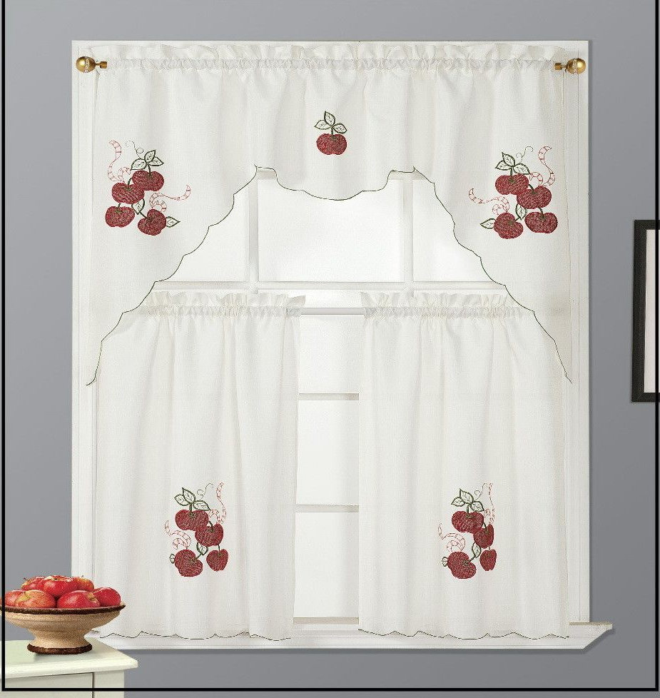 Imperial Flower Jacquard Tier And Valance Kitchen Curtain Sets Regarding Well Liked Kitchen Apple Curtain Set (View 9 of 20)