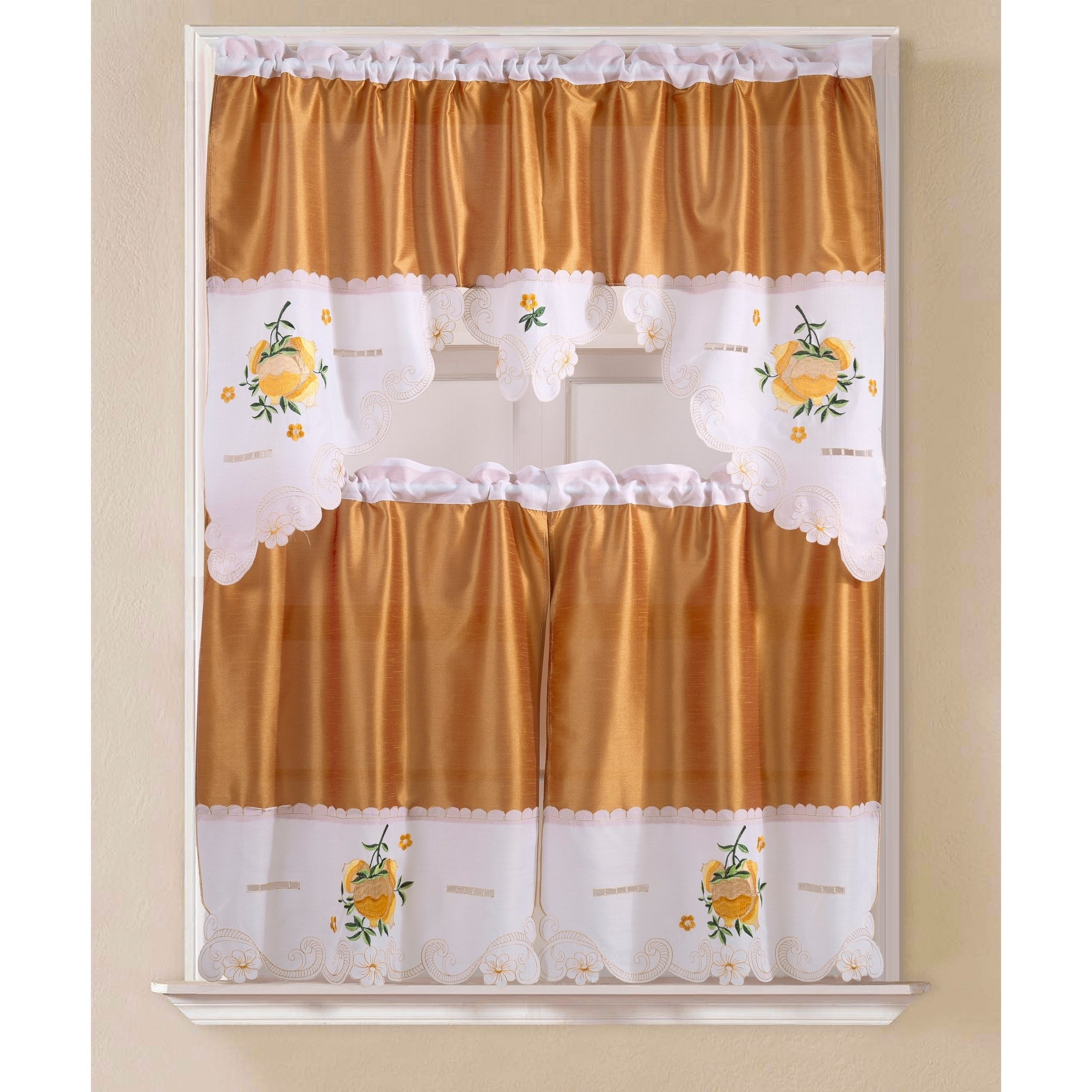 Imperial Flower Jacquard Tier And Valance Kitchen Curtain Sets Within Famous Porch & Den Eastview Faux Silk 3 Piece Kitchen Curtain Set (View 10 of 20)