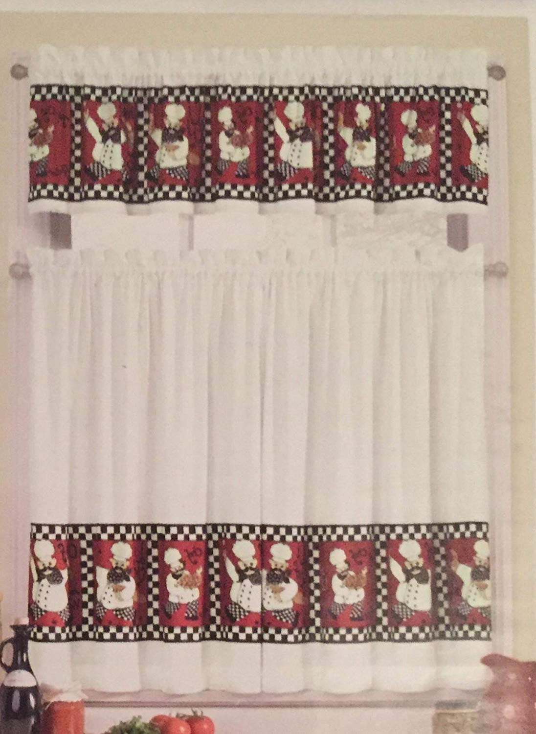 Interiorsdesign Chef Kitchen Window Tier And Valance Set Red, Black, White Pertaining To Well Known Embroidered Chef Black 5 Piece Kitchen Curtain Sets (View 5 of 20)