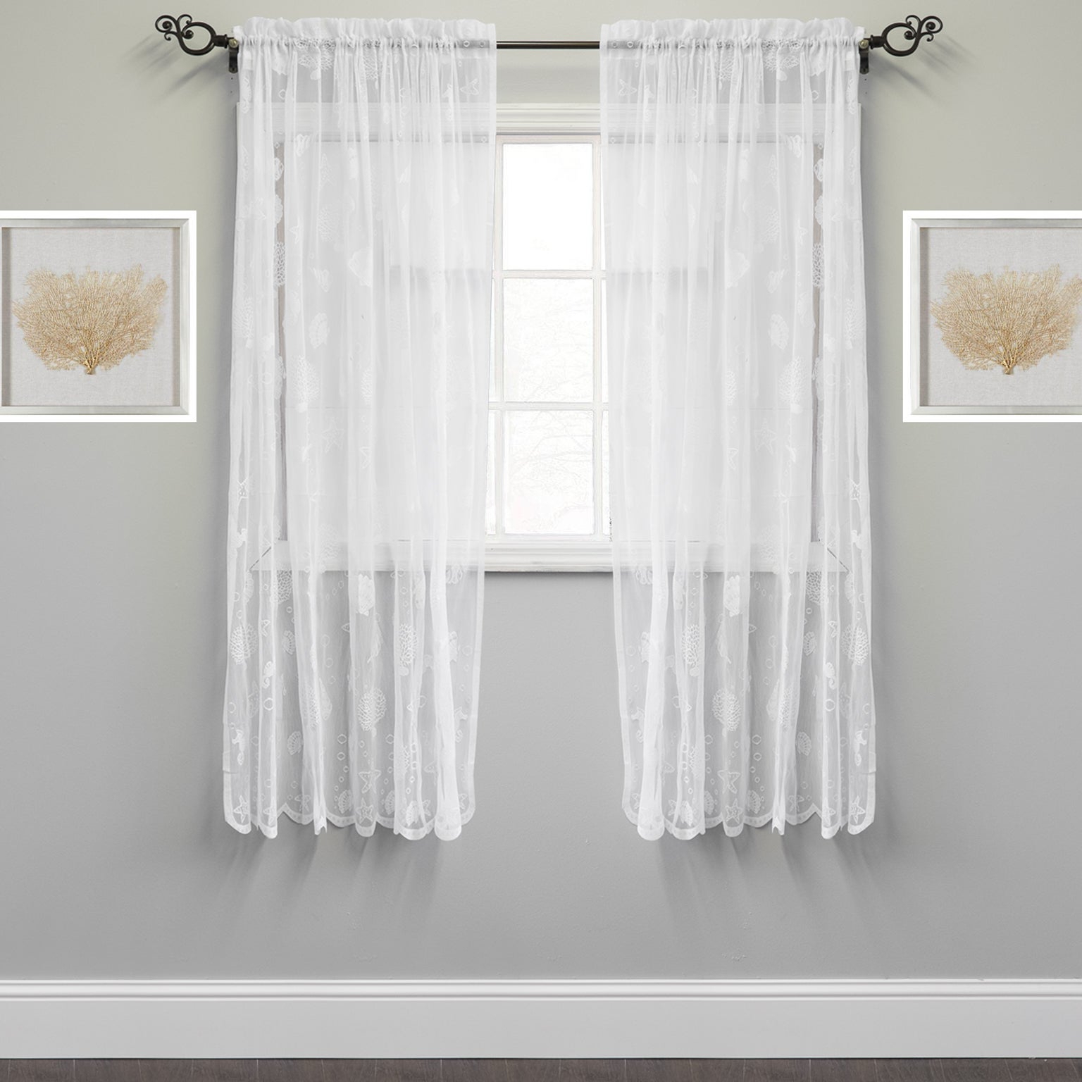 Ivory Knit Lace Bird Motif Window Curtain In Favorite Marine Life Motif Knitted Lace Window Curtain Panel (View 8 of 20)