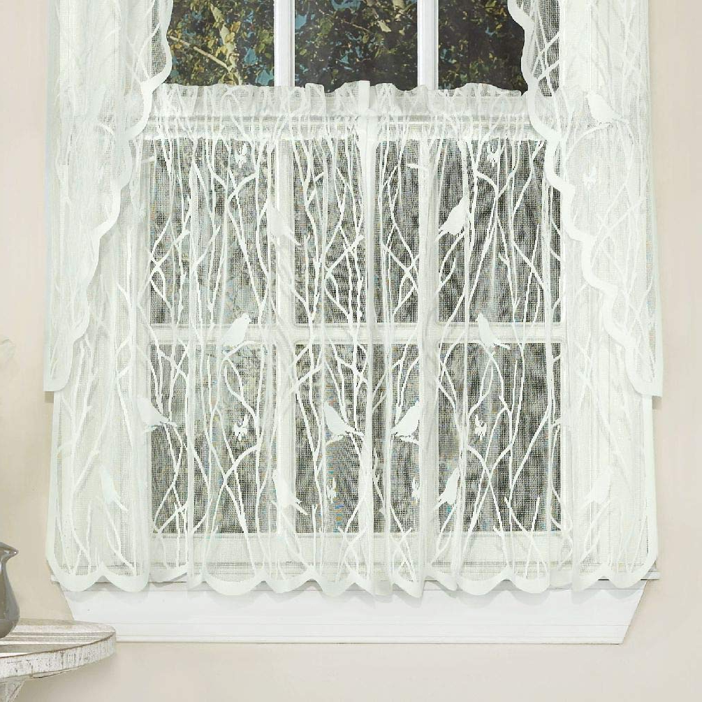 Featured Photo of Ivory Knit Lace Bird Motif Window Curtain