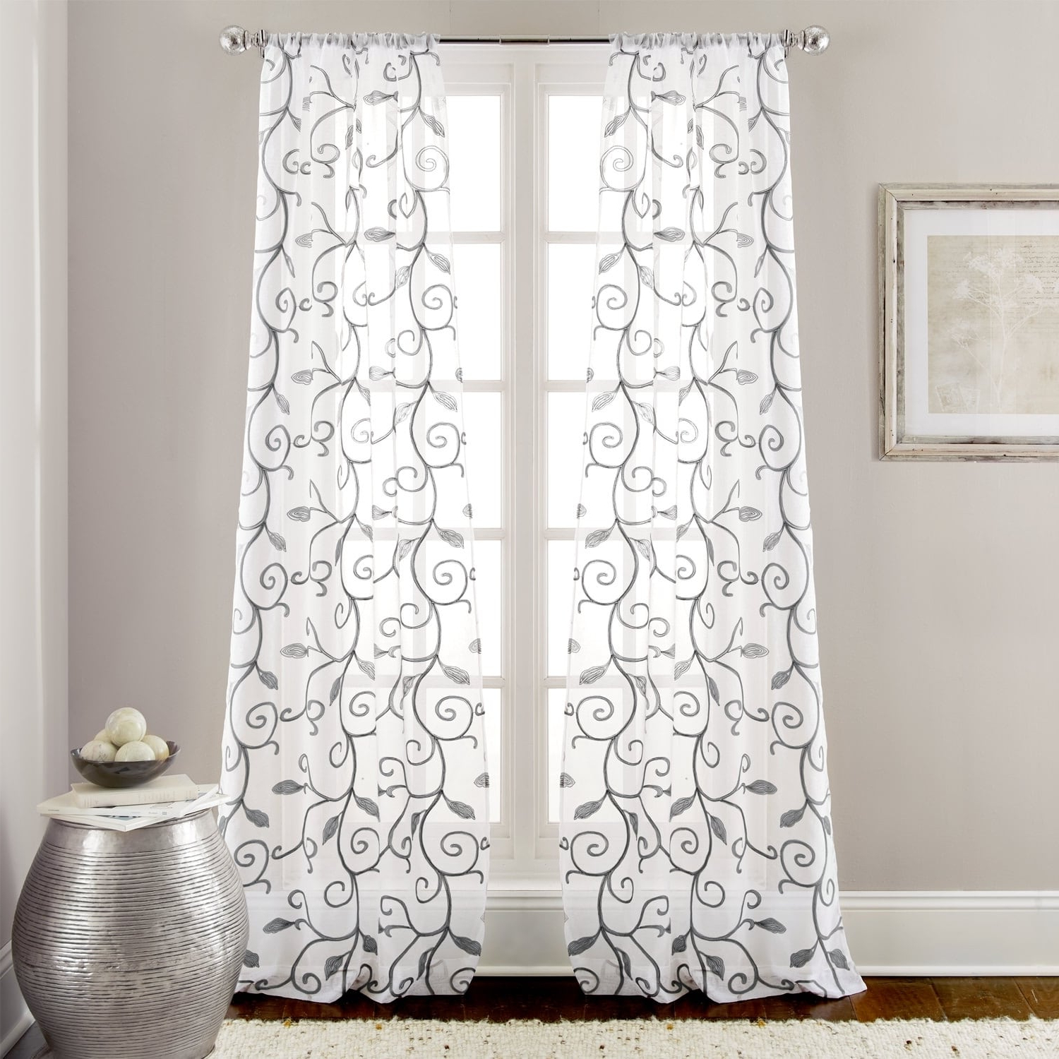 Ivory Knit Lace Bird Motif Window Curtain With Regard To Famous Amrapur Overseas Leaf Swirl Embroidered Curtain Panel Pair (View 13 of 20)