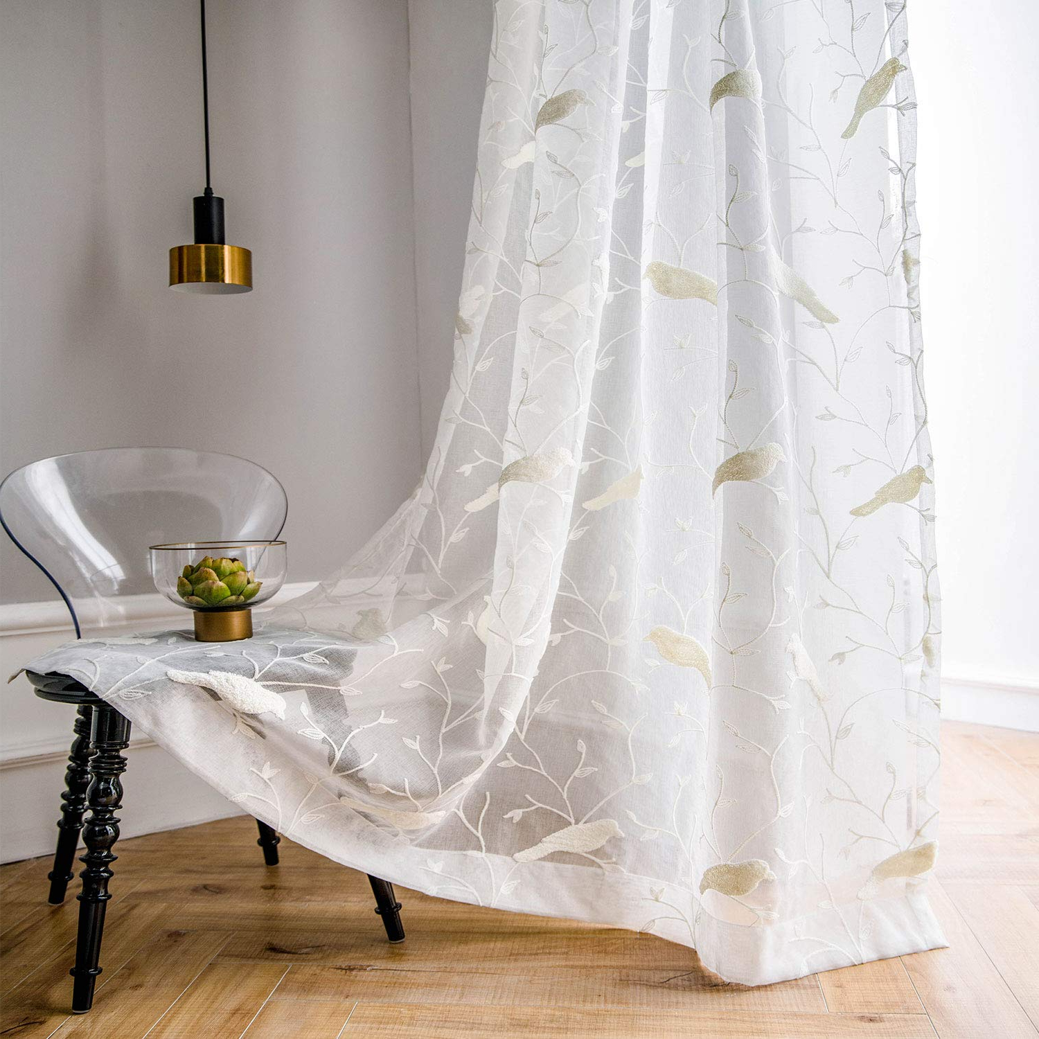 Ivory Knit Lace Bird Motif Window Curtain With Regard To Well Known White Rod Pocket Sheer Curtains 96 Inches Length, Birds Embroidered Window Curtain Sheer Voile Panels For Living Room & Bedroom, 60x96, Two Panels (View 14 of 20)