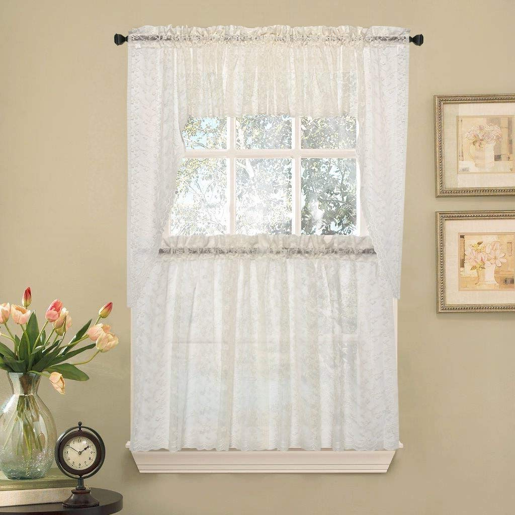 Ivory Micro Striped Semi Sheer Window Curtain Pieces In 2021 Amazon: Bed Bath N More Elegant Ivory Priscilla Lace (View 8 of 20)