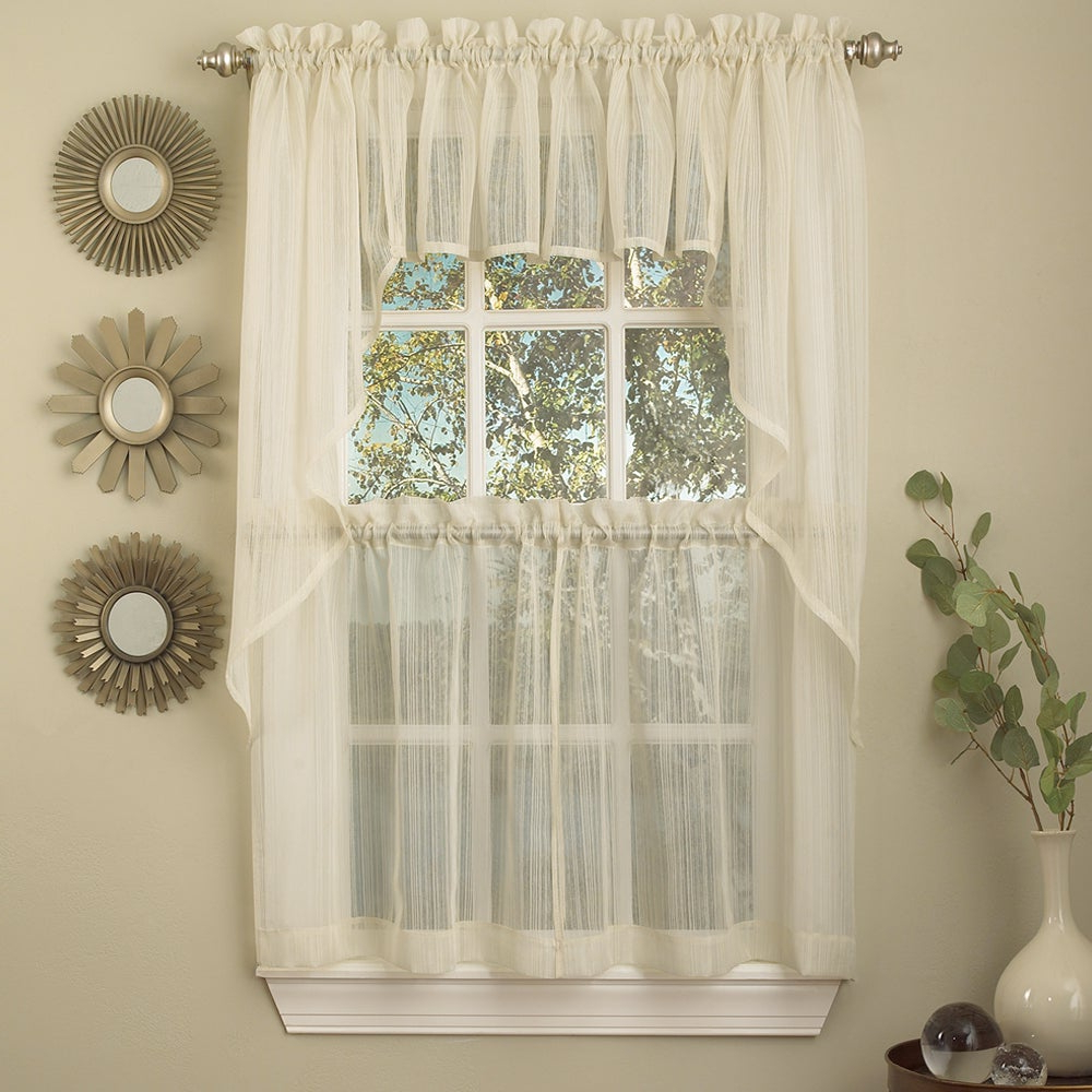 Ivory Micro Striped Semi Sheer Window Curtain Pieces – Tiers, Valance And Swag Options With Regard To Most Current White Tone On Tone Raised Microcheck Semisheer Window Curtain Pieces (View 5 of 20)