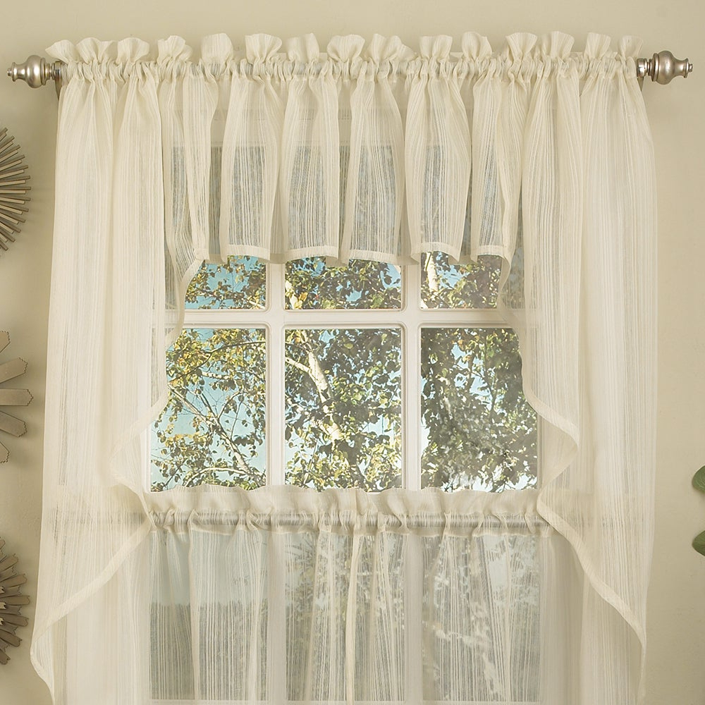 Ivory Micro Striped Semi Sheer Window Curtain Pieces – Tiers, Valance And Swag Options Within Recent White Tone On Tone Raised Microcheck Semisheer Window Curtain Pieces (View 6 of 20)