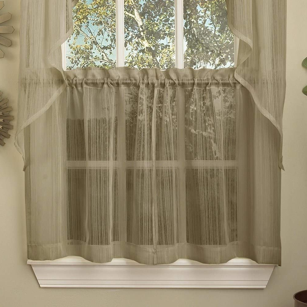 Ivory Micro Striped Semi Sheer Window Curtain Pieces With Popular Amazon: Bed Bath N More Mocha Micro Striped Semi Sheer (View 5 of 20)