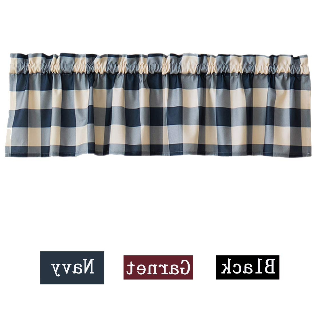 Jahome Buffalo Check Plaid Window Curtain Valances Thick Plushed Window Treatments For Kitchen Bath Laundry Bedroom Living Room (navy) With Latest Grandin Curtain Valances In Black (View 19 of 20)