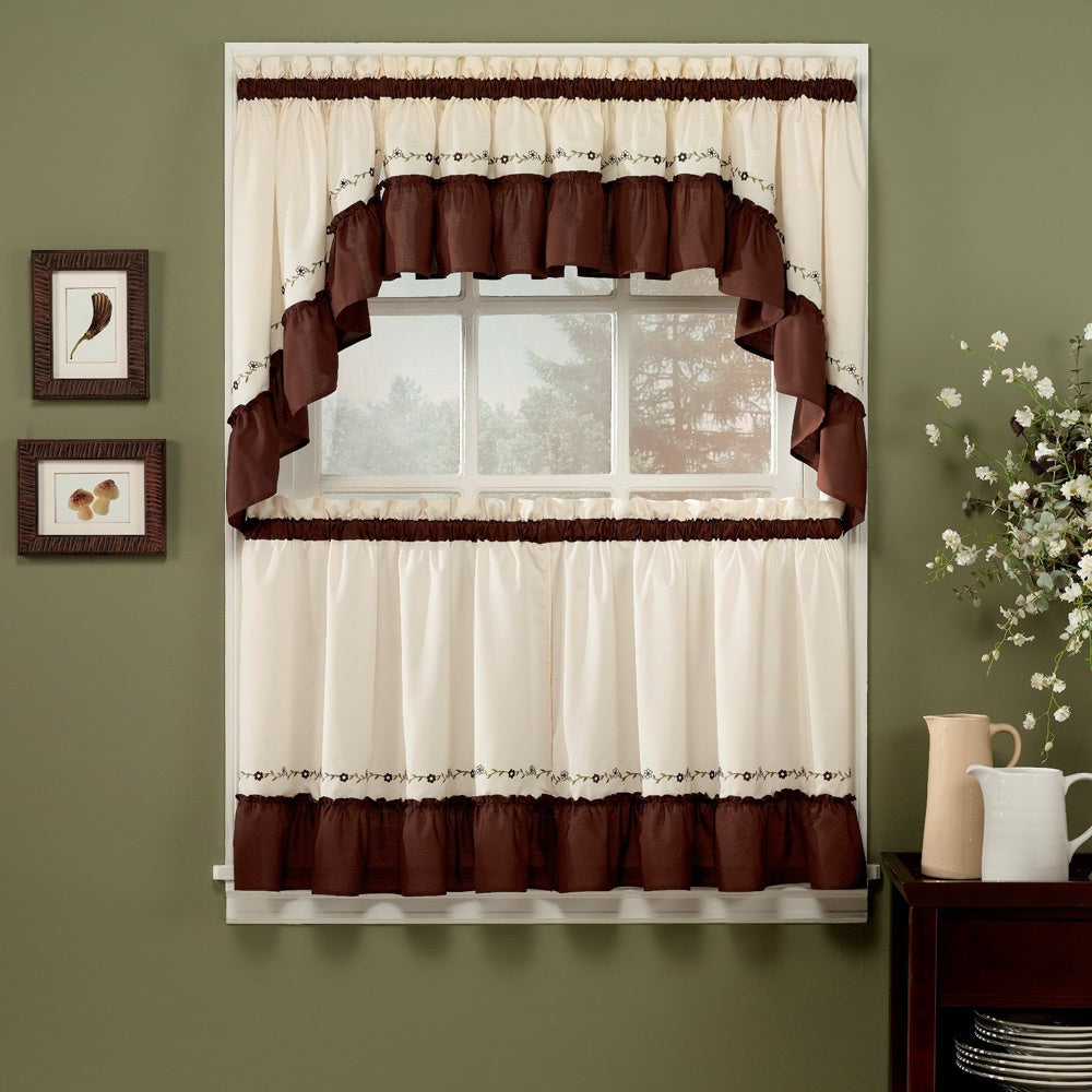 Jayden Chocolate 5 Piece Curtain Tier And Swag Set In Preferred Abby Embroidered 5 Piece Curtain Tier And Swag Sets (View 6 of 20)