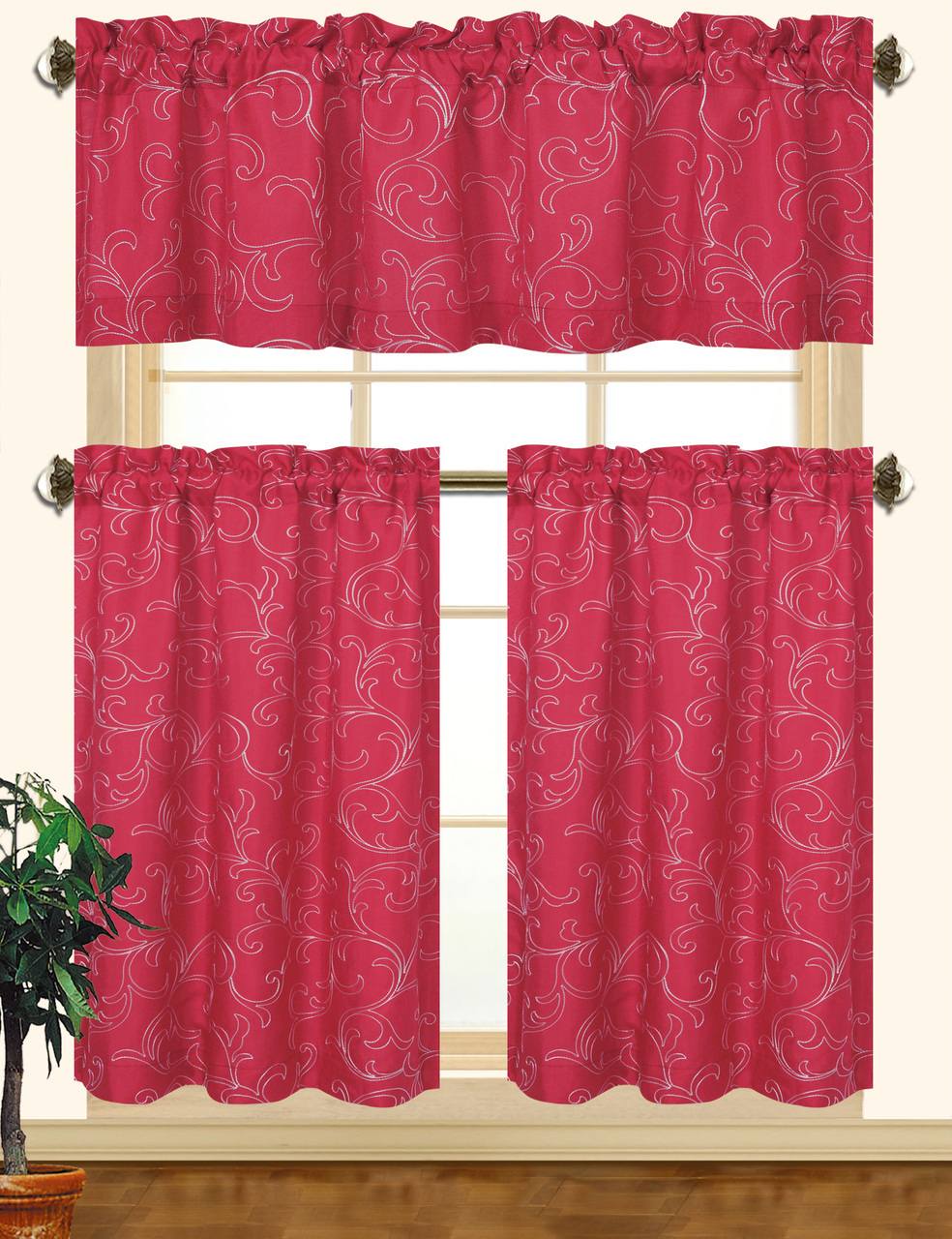 Kashi Home Chelsea 3Pc Scroll Embroidered Decorative Kitchen Curtain Set  (Burgundy/white) Intended For Most Up To Date Kitchen Burgundy/white Curtain Sets (Gallery 11 of 20)