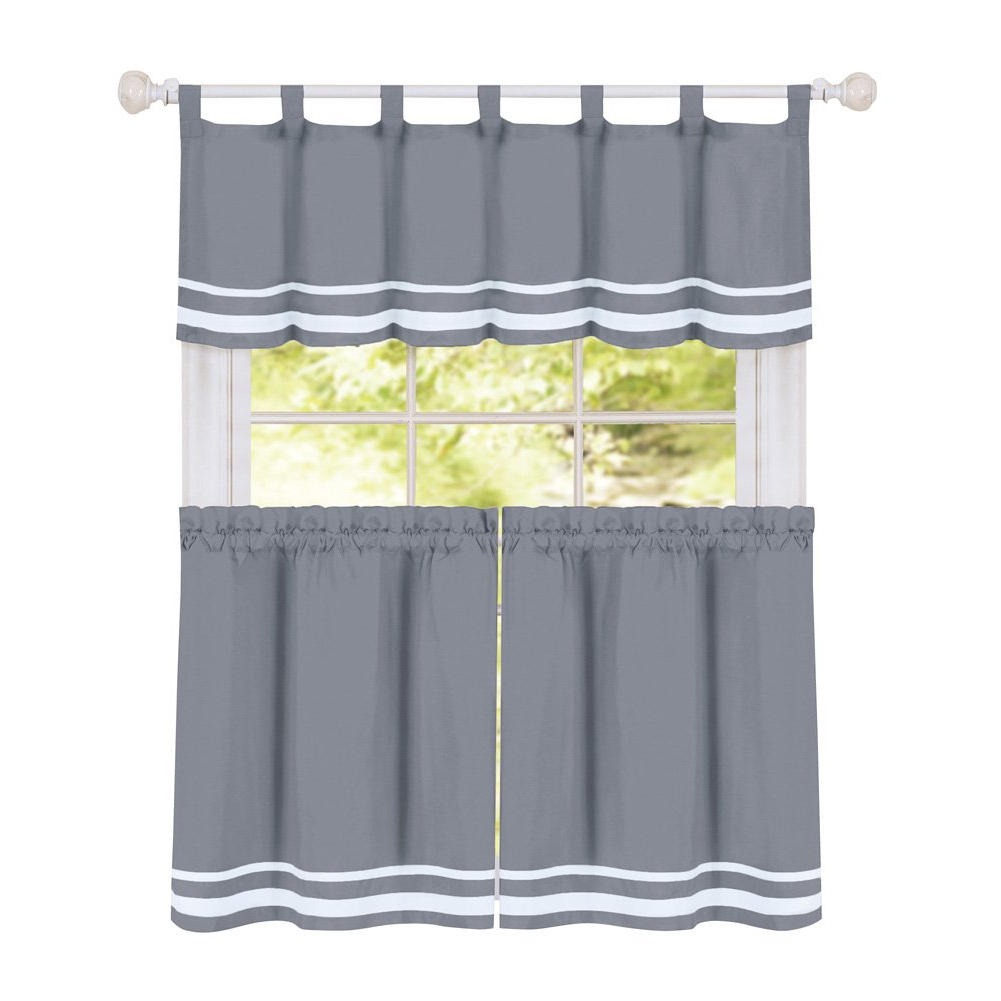 "Kitchen Curtain Tiers With Regard To Fashionable Collections Etc Dakota Stripe Café Kitchen Curtain Tier Set With Tabbed  Valance Topper, Grey, 57"" X 36"" (View 11 of 20)"