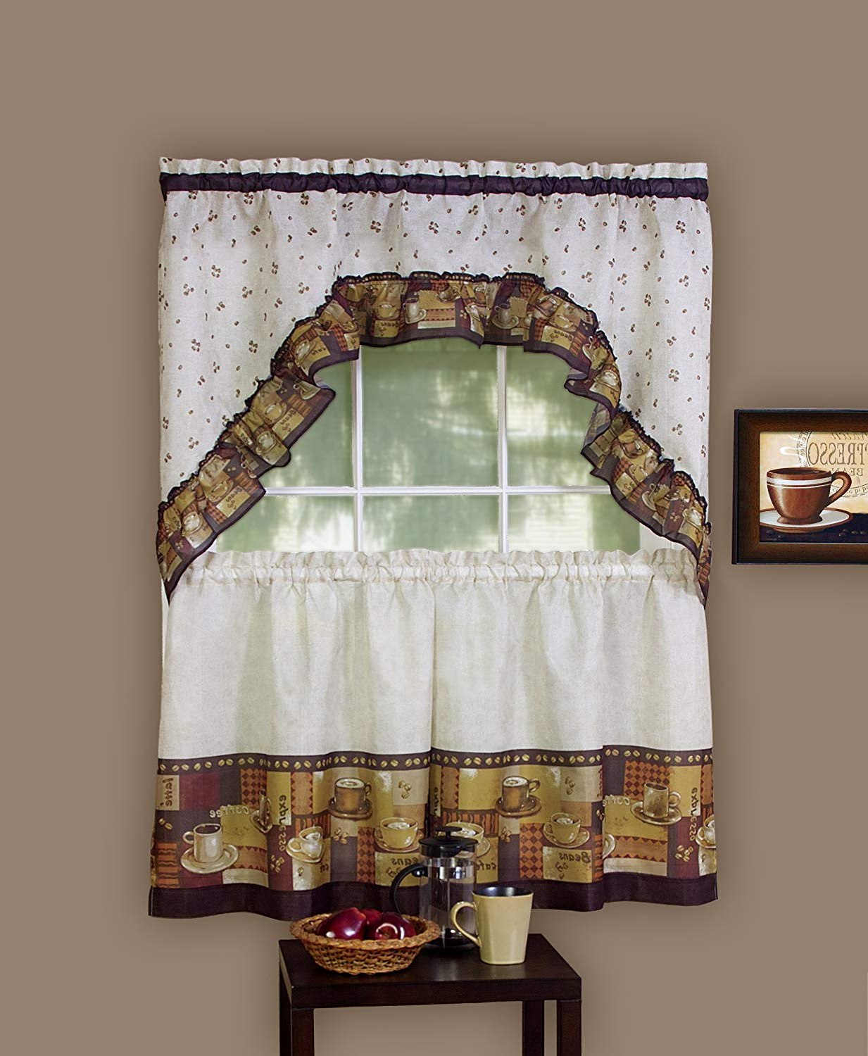 "Kitchen Window Tier Sets With Most Current Achim Home Furnishings Coffee Tier And Swag Window Treatment Set, 57"" X 36"", Brown (View 9 of 20)"