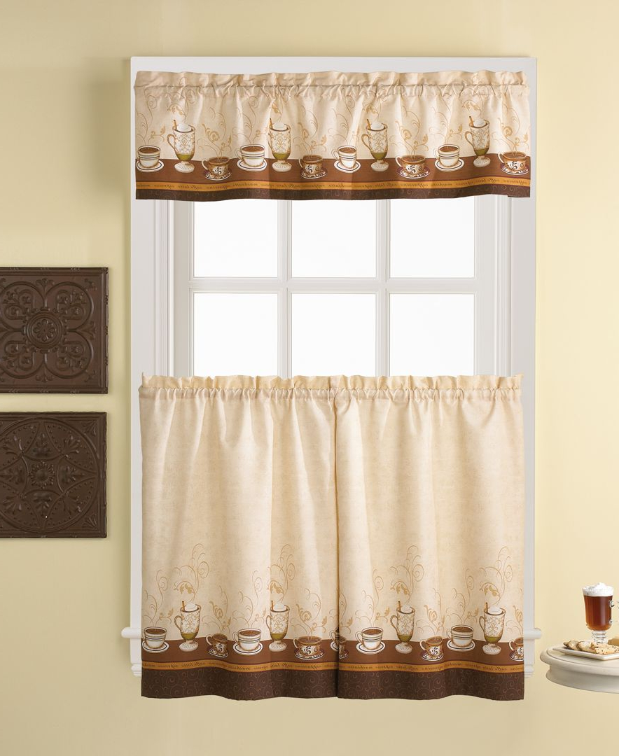 Kitchen Window Tier Sets Within Most Recent Café Au Lait 56 X 36 Window Tier & Valance Set In 2019 (Gallery 11 of 20)