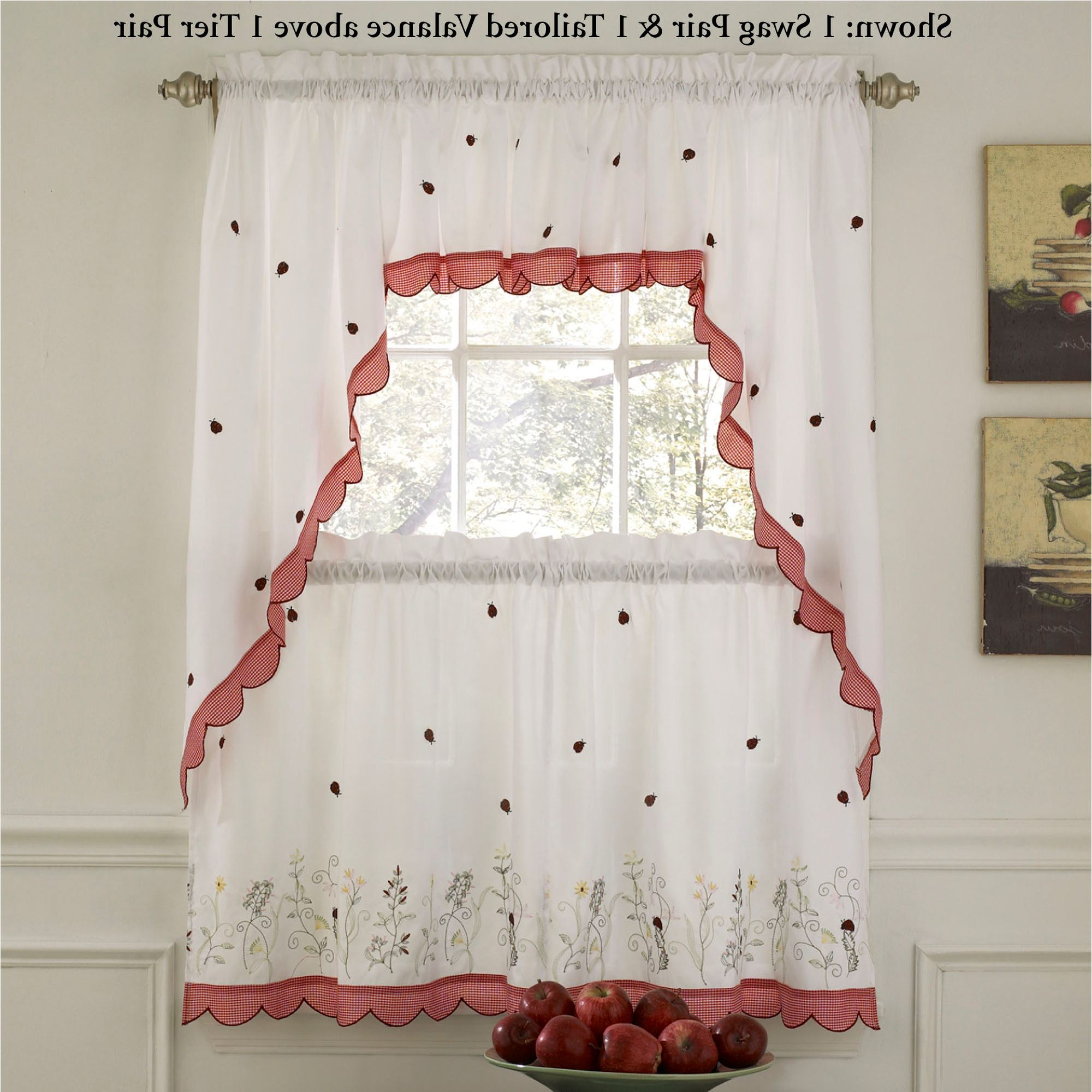 Ladybug Meadow Tier Window Treatment Inside 2021 Tailored Valance And Tier Curtains (View 12 of 20)