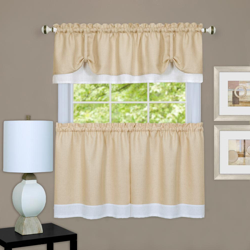 Latest Achim 58 In. W X 24 In. L Darcy Polyester Tier And Valance Curtain Set – In  Tan/white For Window Curtain Tier And Valance Sets (Gallery 15 of 20)