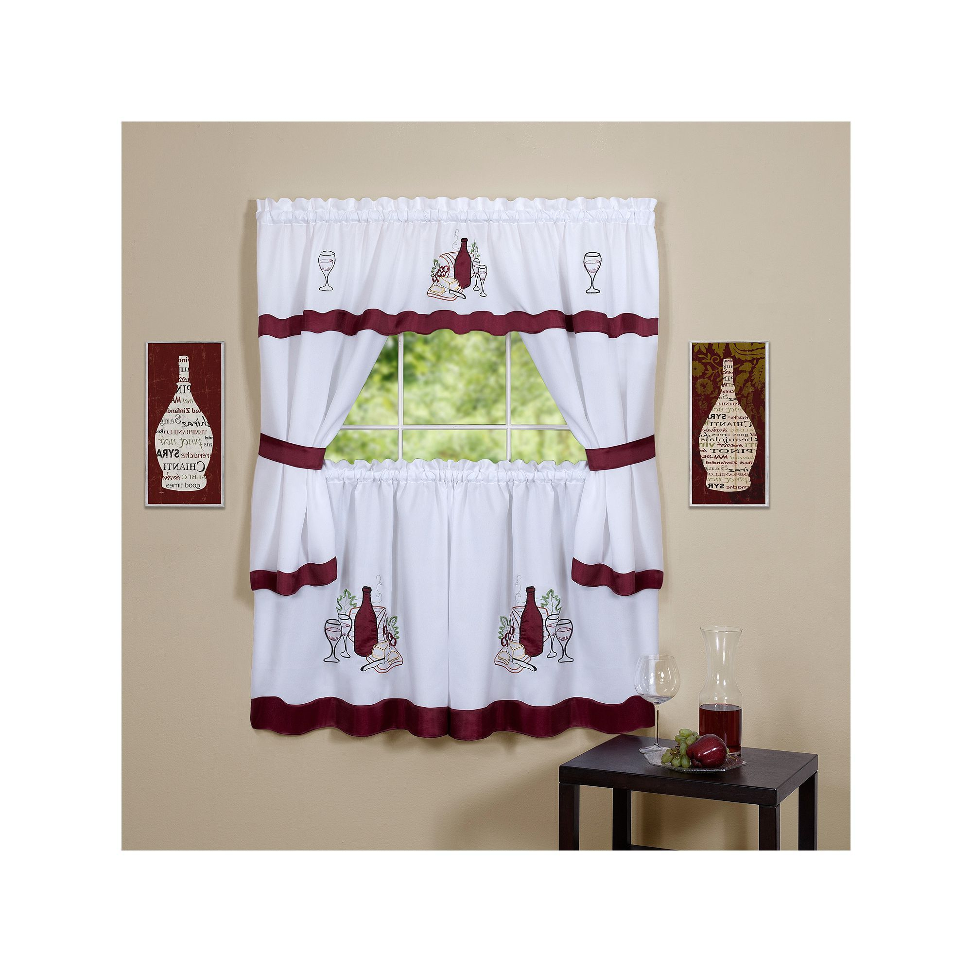 Latest Achim Wine & Cheese Kitchen Tier & Swag Set, Red, 58x24 In For 5 Piece Burgundy Embroidered Cabernet Kitchen Curtain Sets (View 12 of 20)