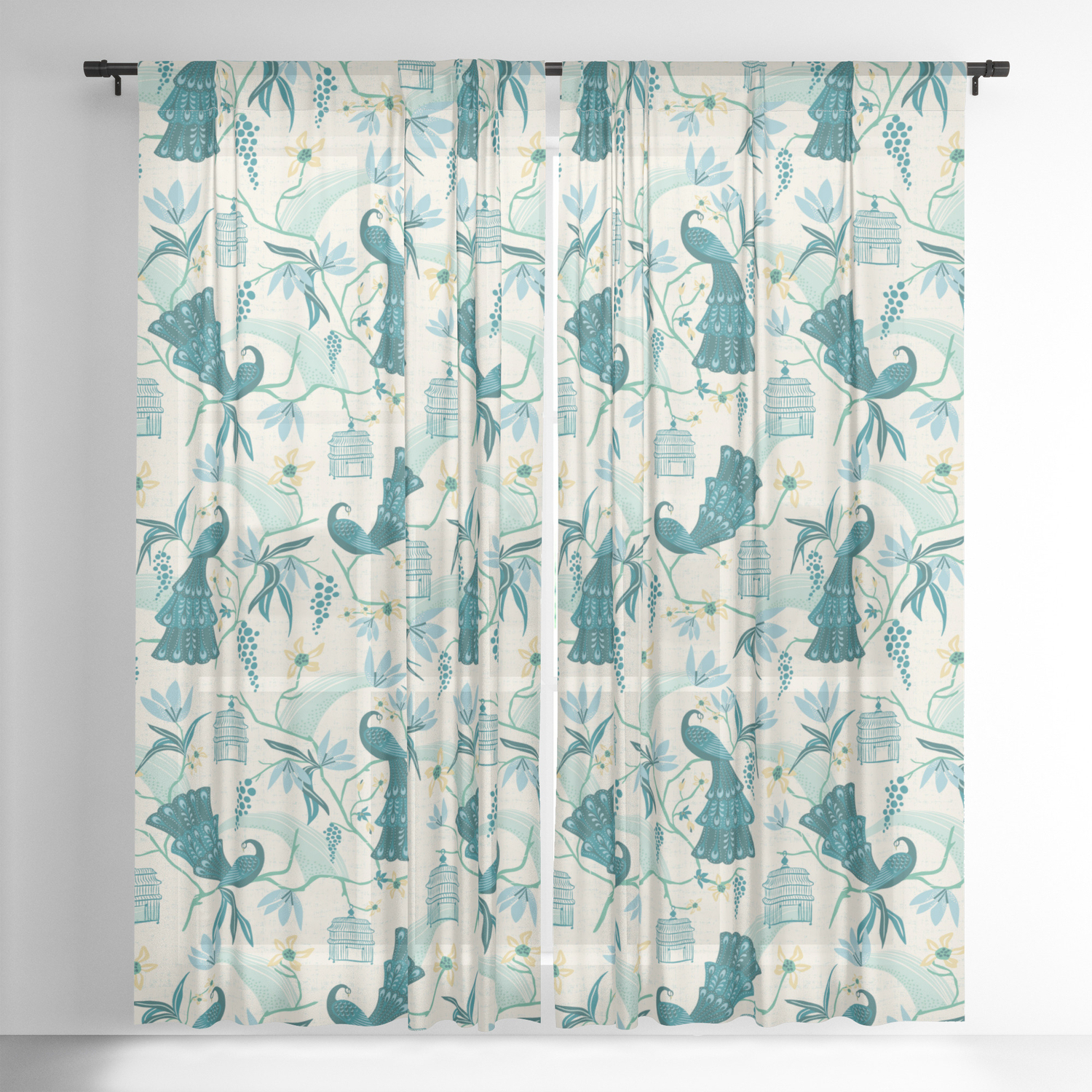 Latest Aviary – Cream Sheer Curtainheatherduttonhangtightstudio Intended For Aviary Window Curtains (View 3 of 20)