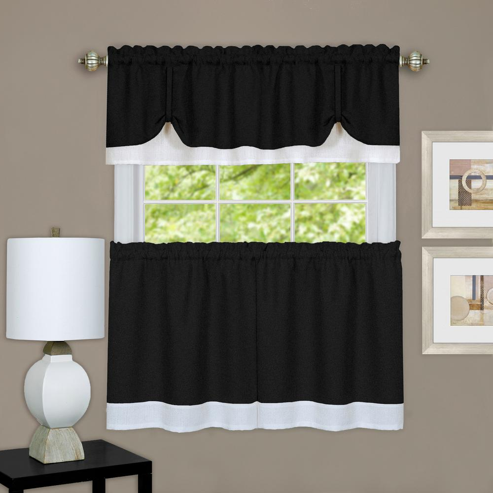 Latest Barnyard Window Curtain Tier Pair And Valance Sets Regarding Achim Darcy Black/white Polyester Tier And Valance Curtain Set – 58 In. W X  36 In. L (Gallery 17 of 20)