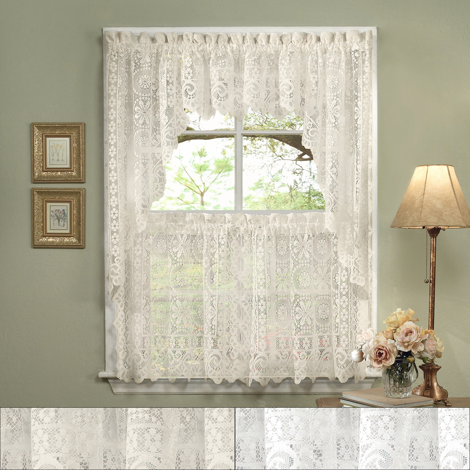 """Latest Barnyard Window Curtain Tier Pair And Valance Sets With Details About Hopewell Heavy Lace Floral Kitchen Curtain 24"""" Tier Pair, Valance & Swag Set (View 12 of 20)"""